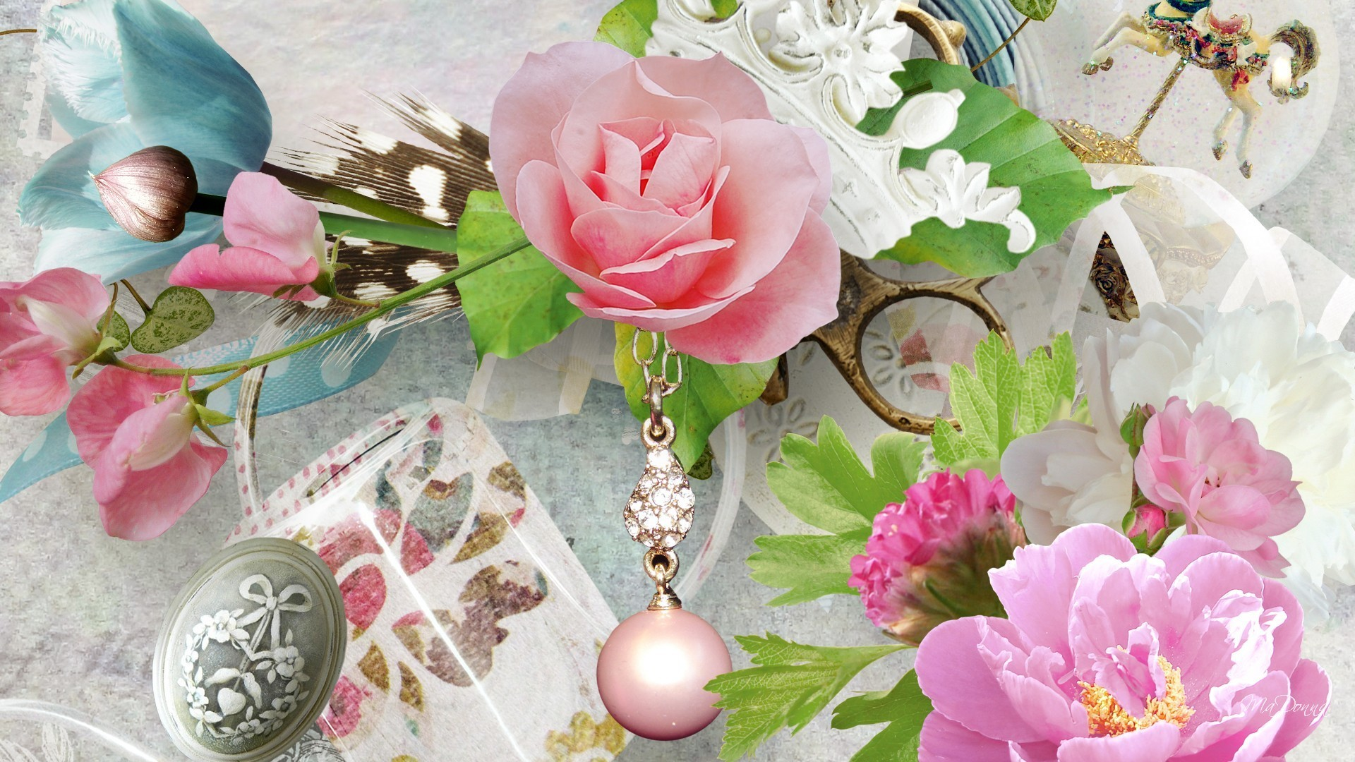 Peonies Tag – Bit Romantic Brooch Peonies Chain Just Flowers Feather Pearls  Vintage Roses Daisy Flower