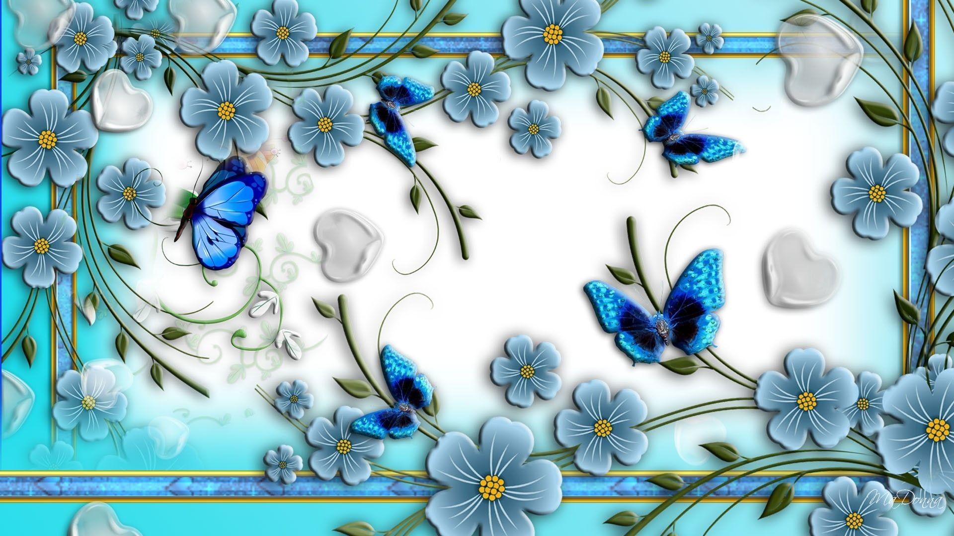 Download Blue Butterflies Abstract Flowers Unique Nature Wallpaper .