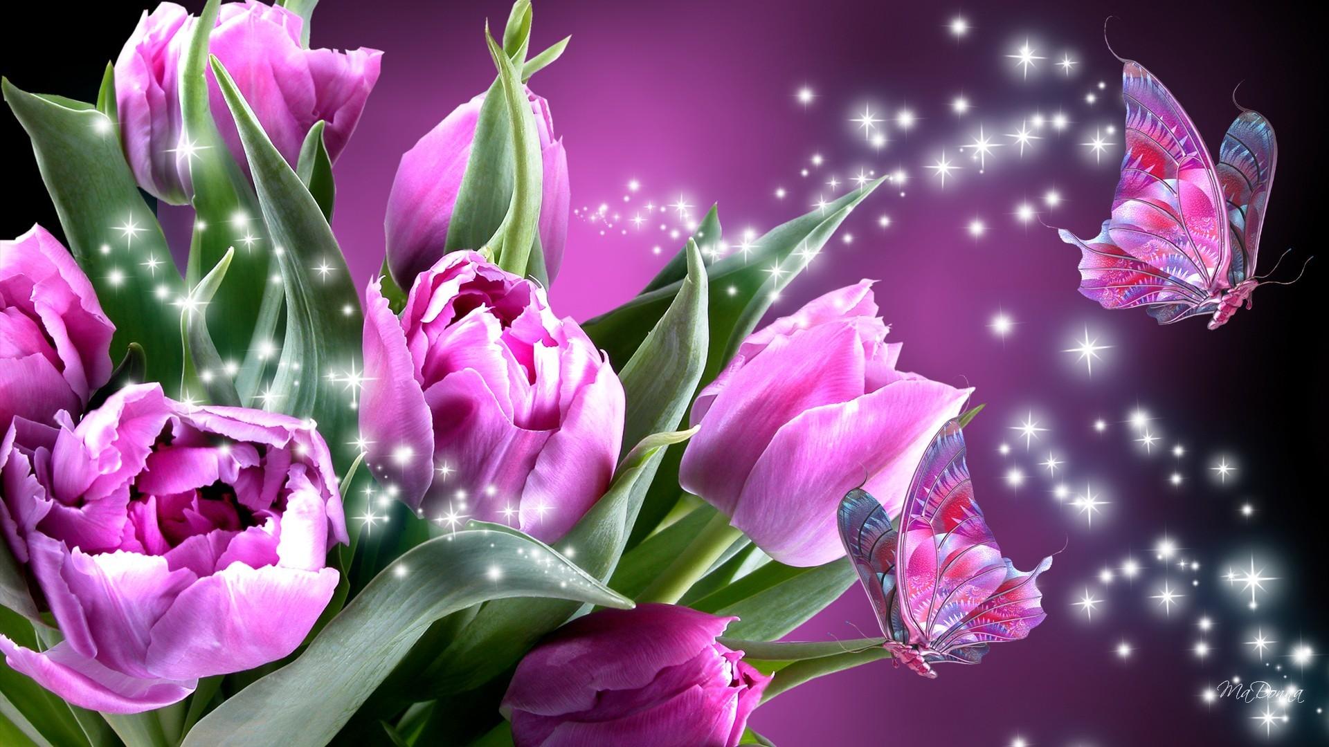 HD Romance Of Pink Butterflies Wallpaper