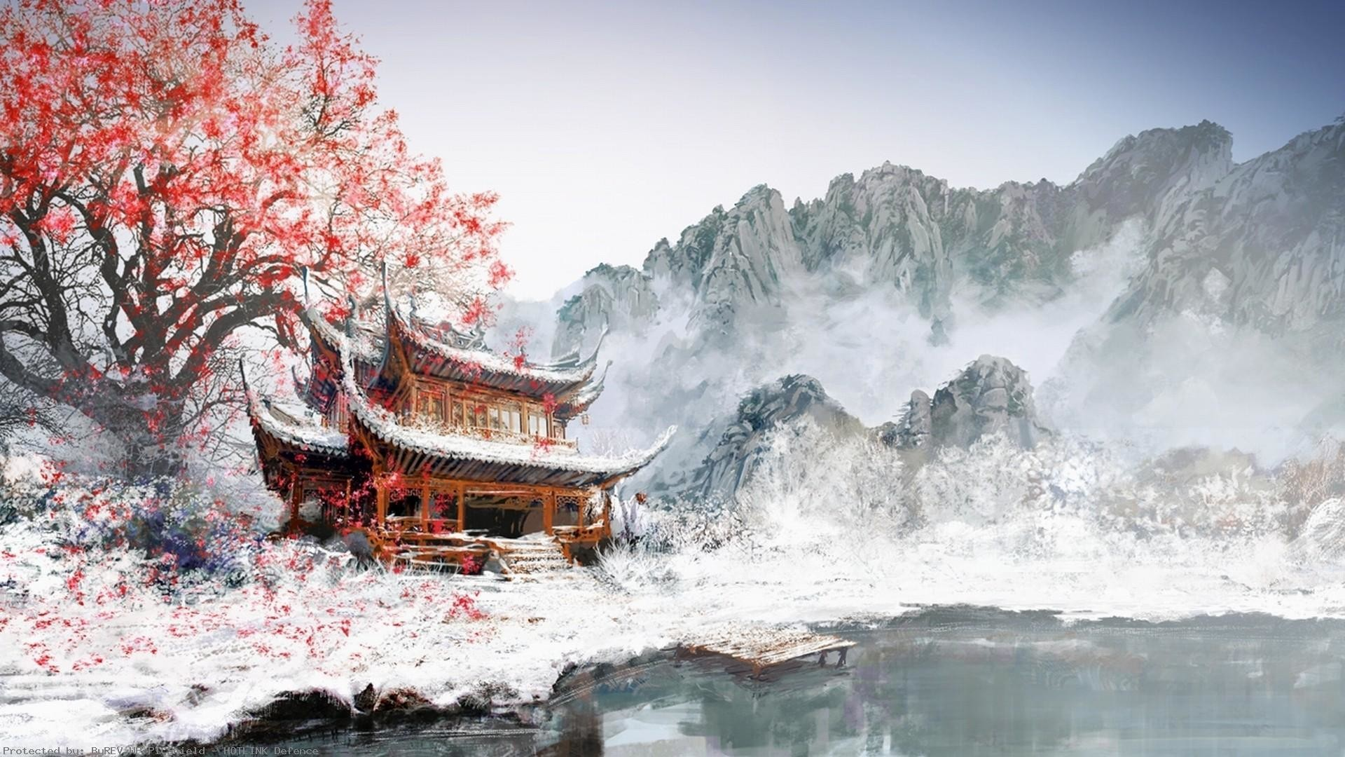 General-1920×1080-painting-Japan-winter-white-snow-mountains-