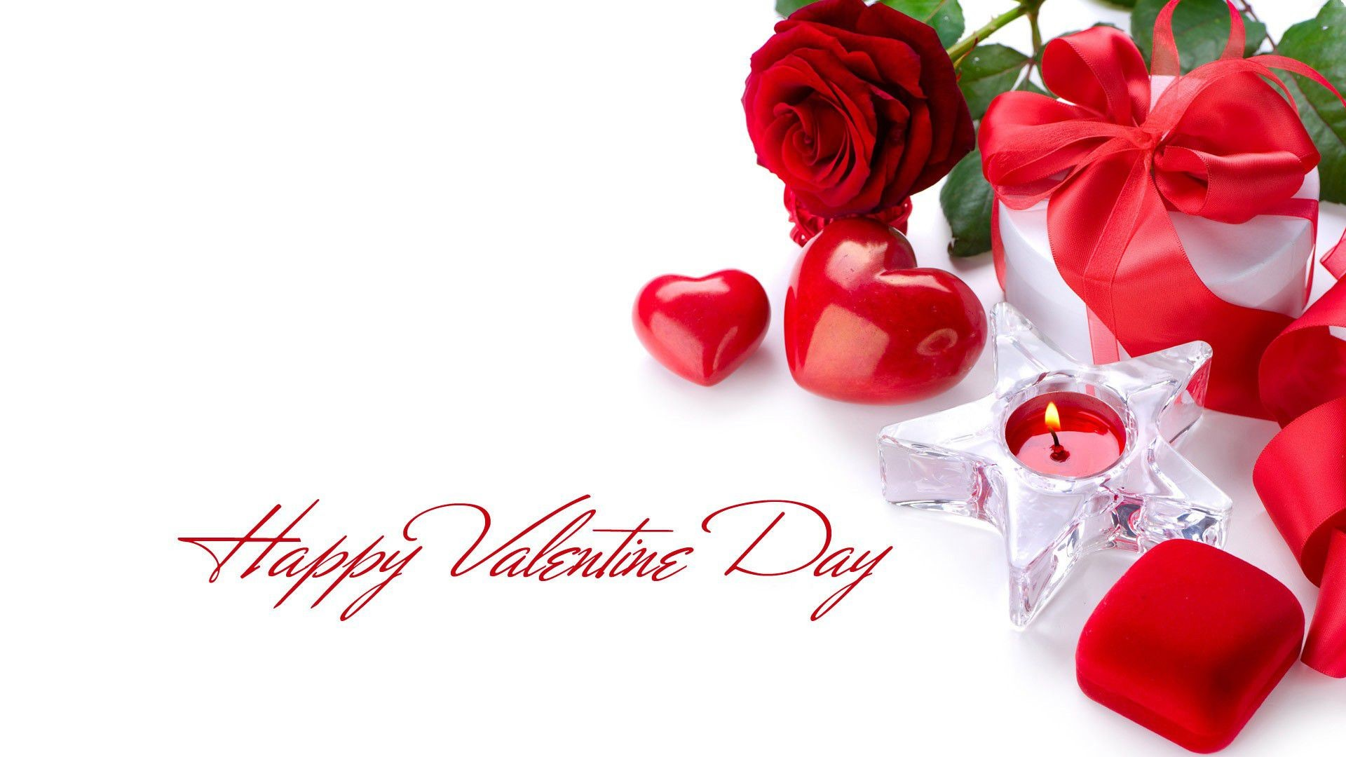 happy valentines day red rose with candle hd wallpaper