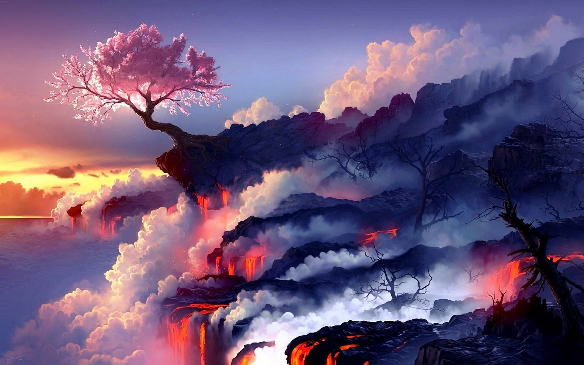 Cherry tree on the volcano Artistic HD desktop wallpaper, Tree wallpaper, Cherry  wallpaper, Lava wallpaper, Volcano wallpaper – Artistic no.