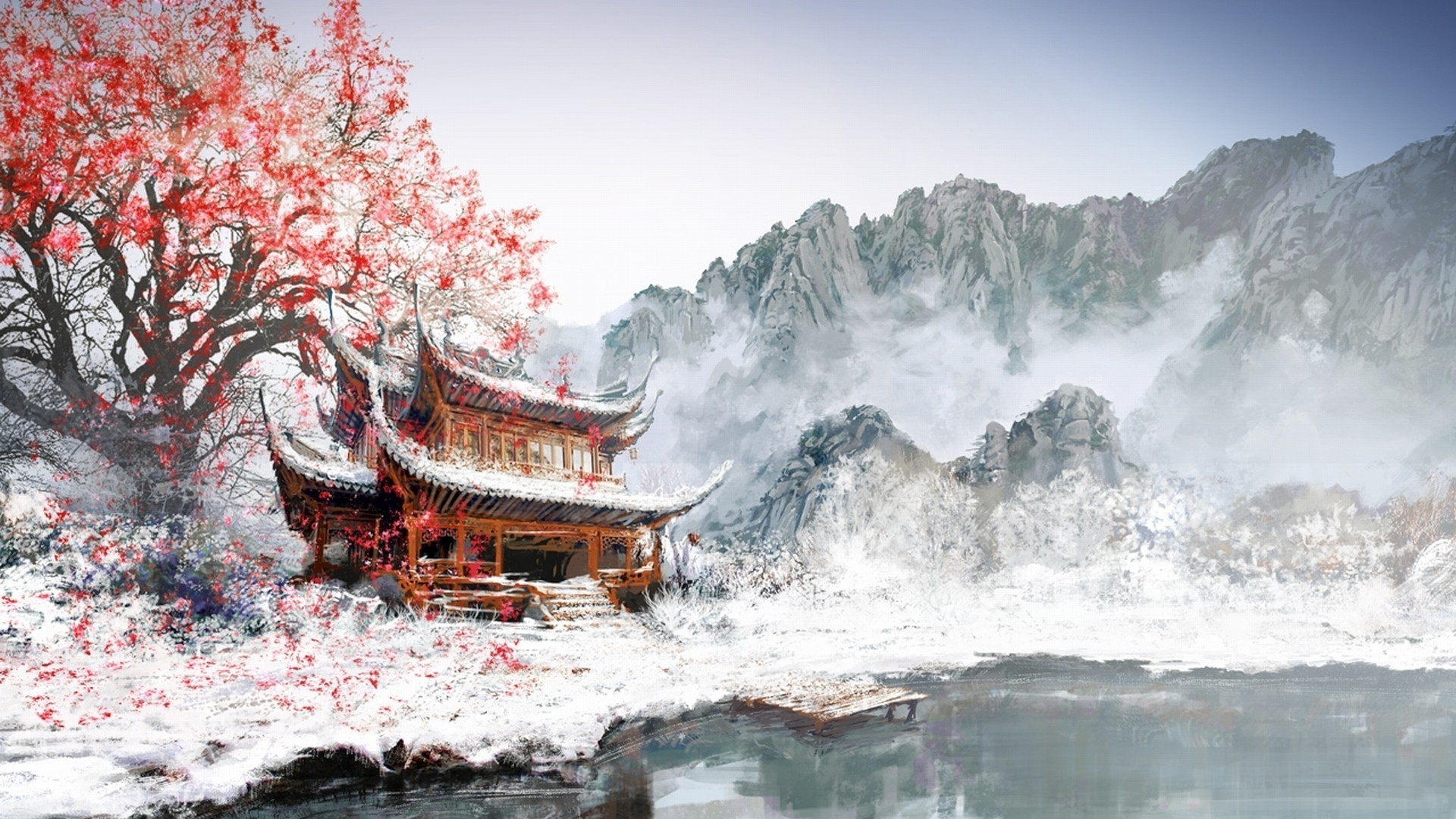 painting, Japan, Winter, White, Snow, Mountain, Cherry Blossom Wallpapers  HD / Desktop and Mobile Backgrounds