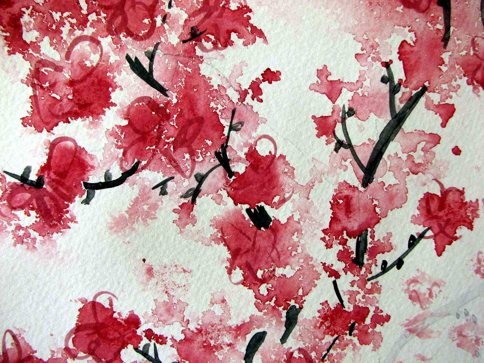 japanese cherry blossom watercolor