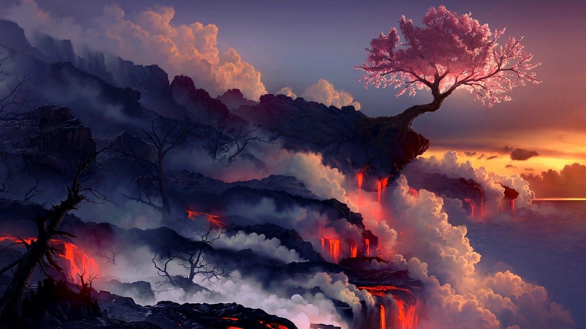 sakura-tree-lava-fantasy-wallpaper-1920×1080.jpg (1920× · Cherry TreeCherry  Blossom …