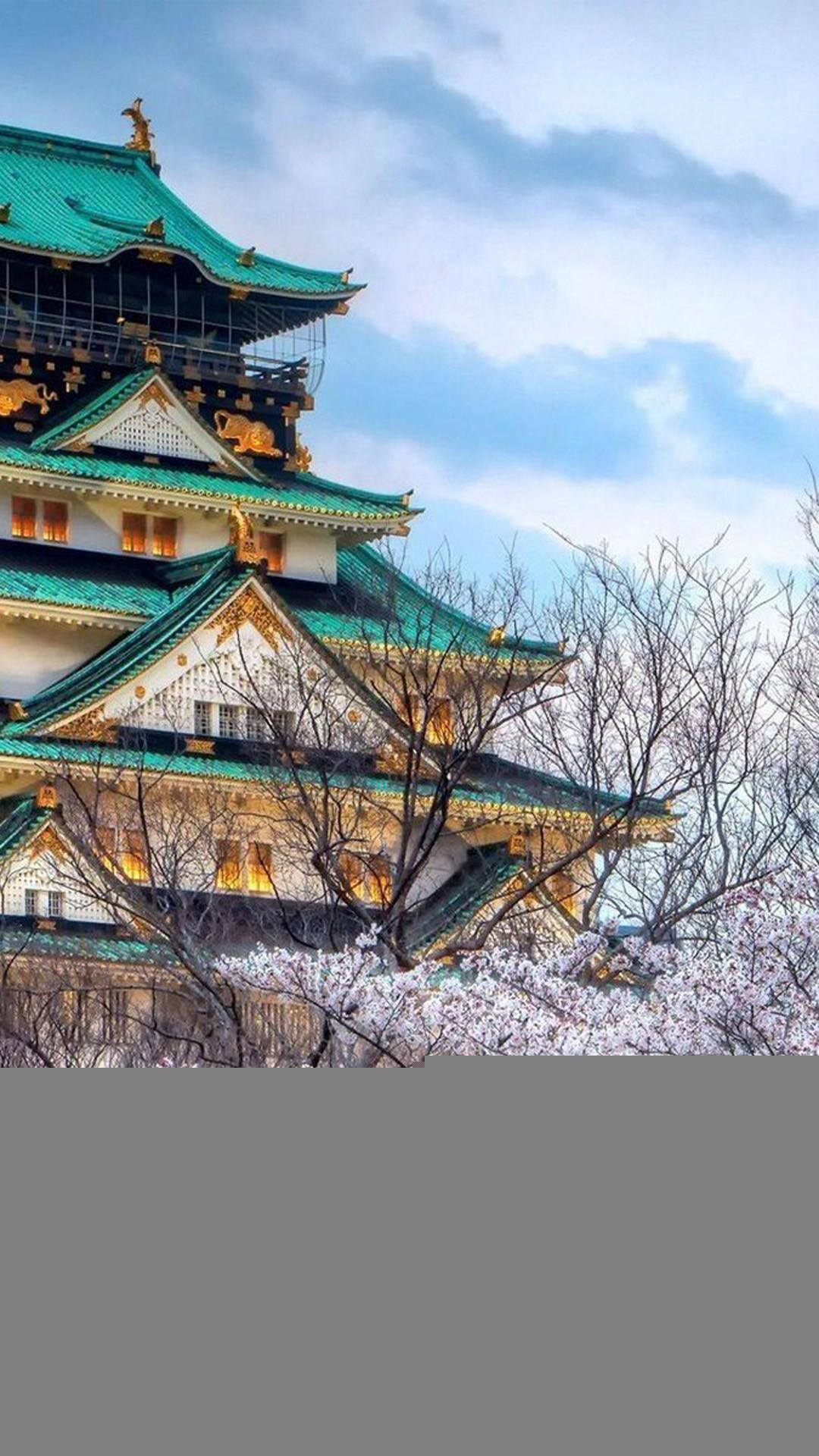 Cherry Blossoms Temple Architecture iPhone 8 wallpaper