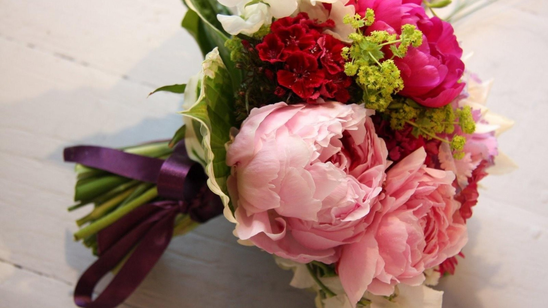 Preview wallpaper peony, freesia, flowers, bouquet 1920×1080