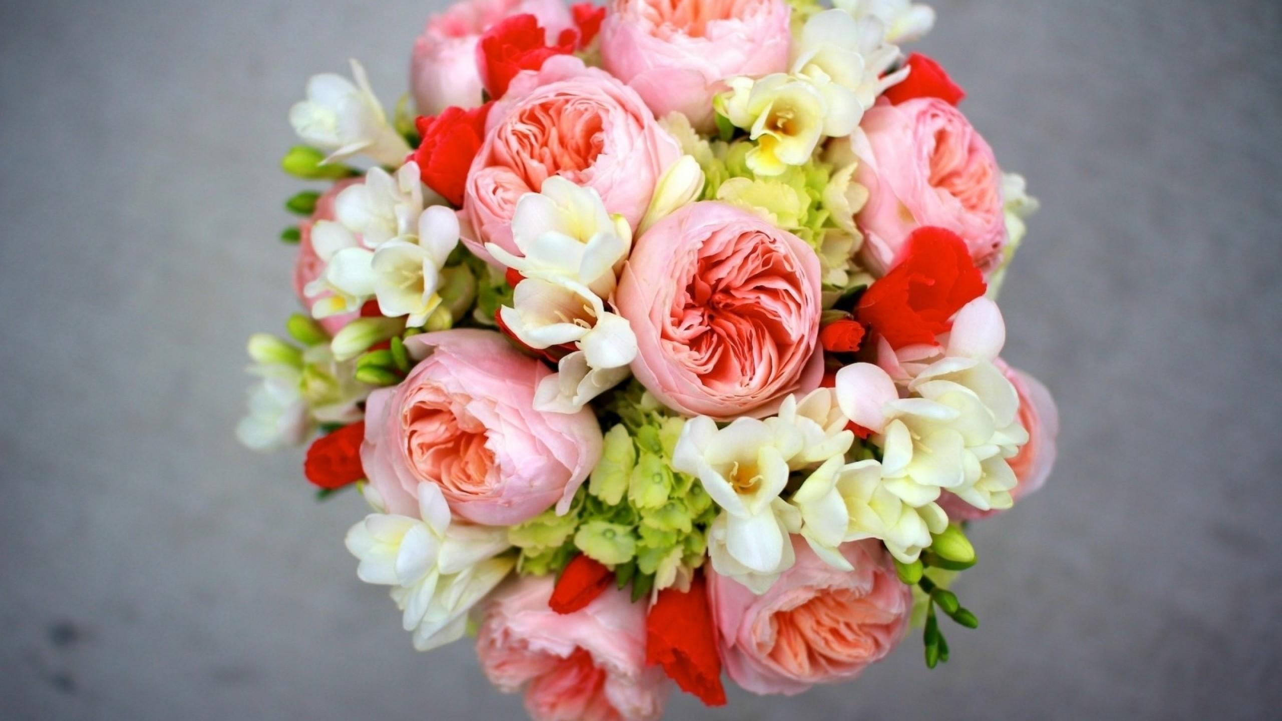 Preview wallpaper peony, freesia, hydrangea bouquet, arrangement, flowers  2560×1440