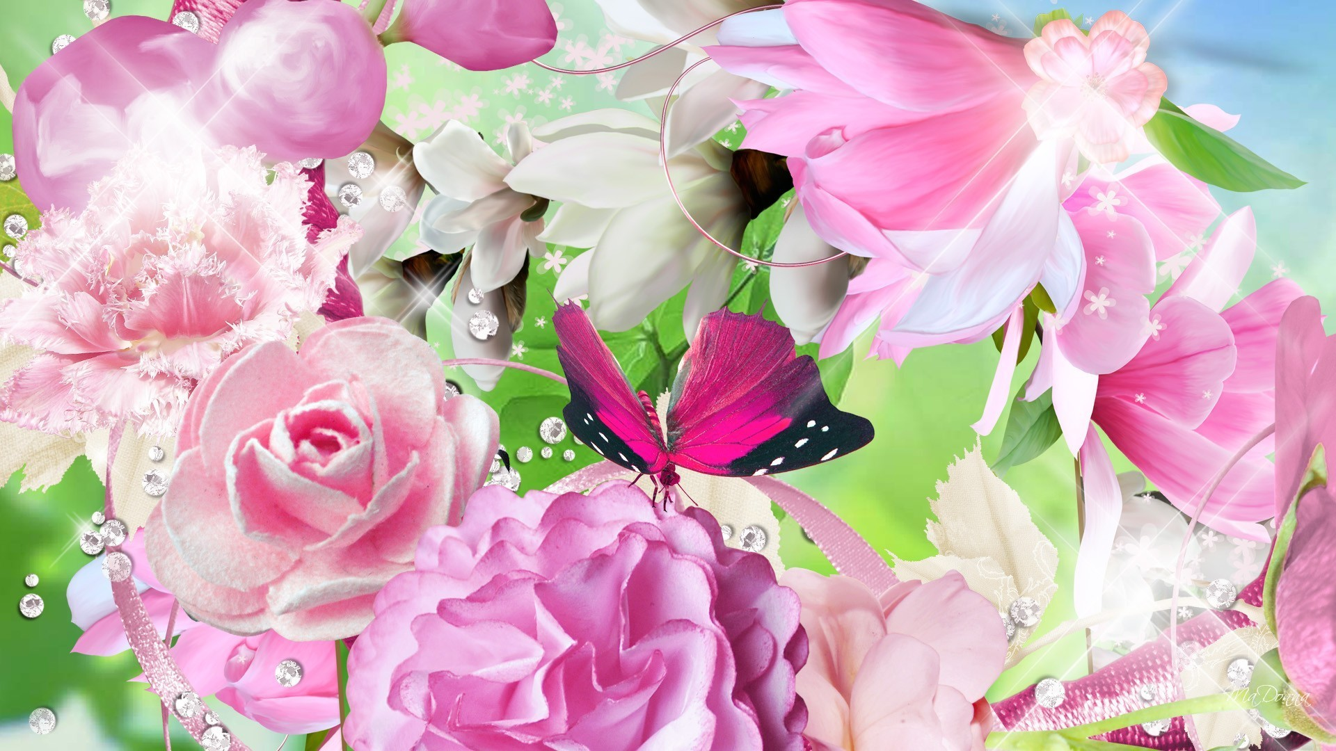 January 6, 2017 – Summer Bouquet Flowers Butterfly Roses Pink Peony Fleurs  Papillon Spring Floral