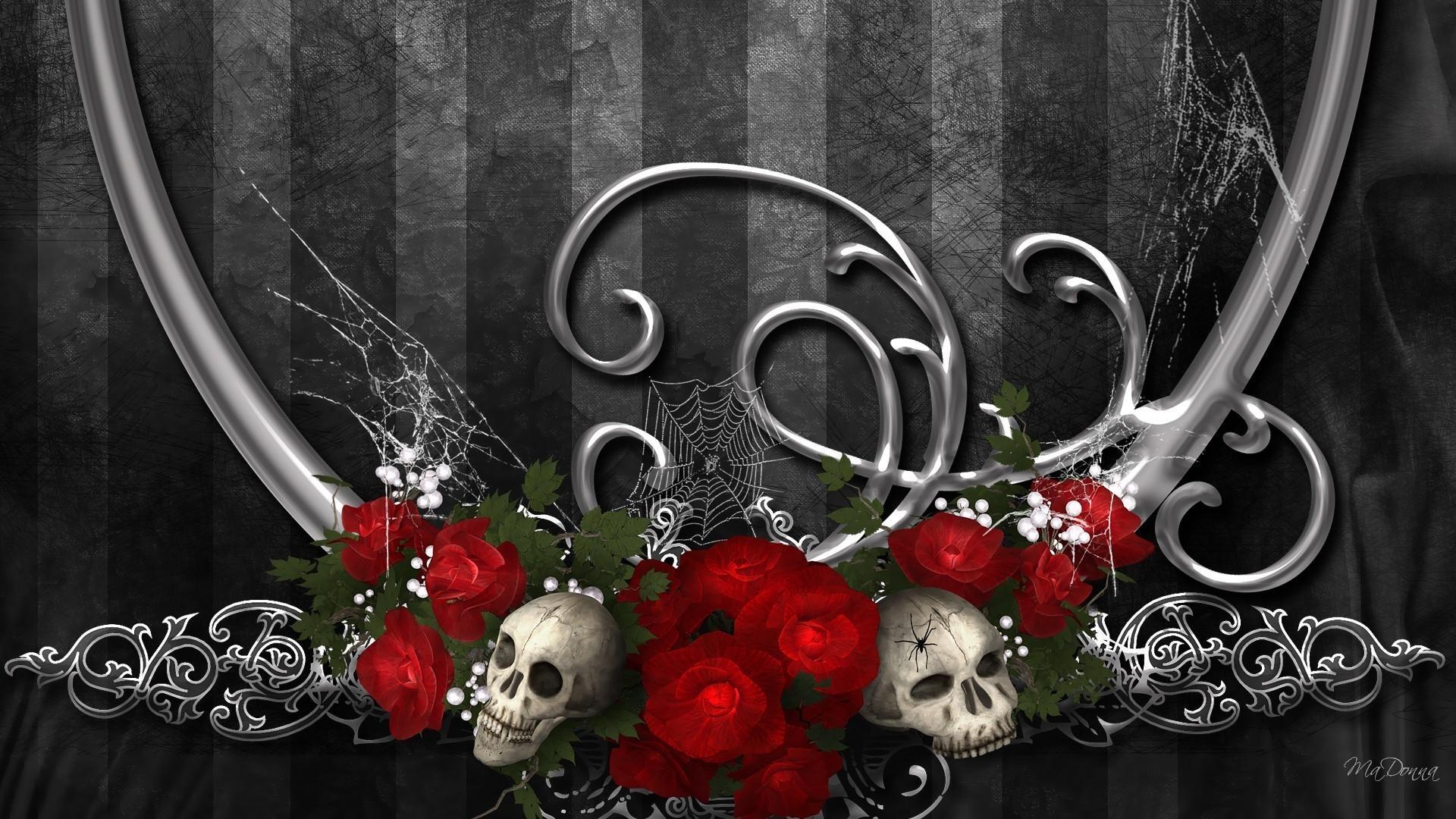 Dark Gothic Red Flower Artistic Skull Rose Design Wallpaper