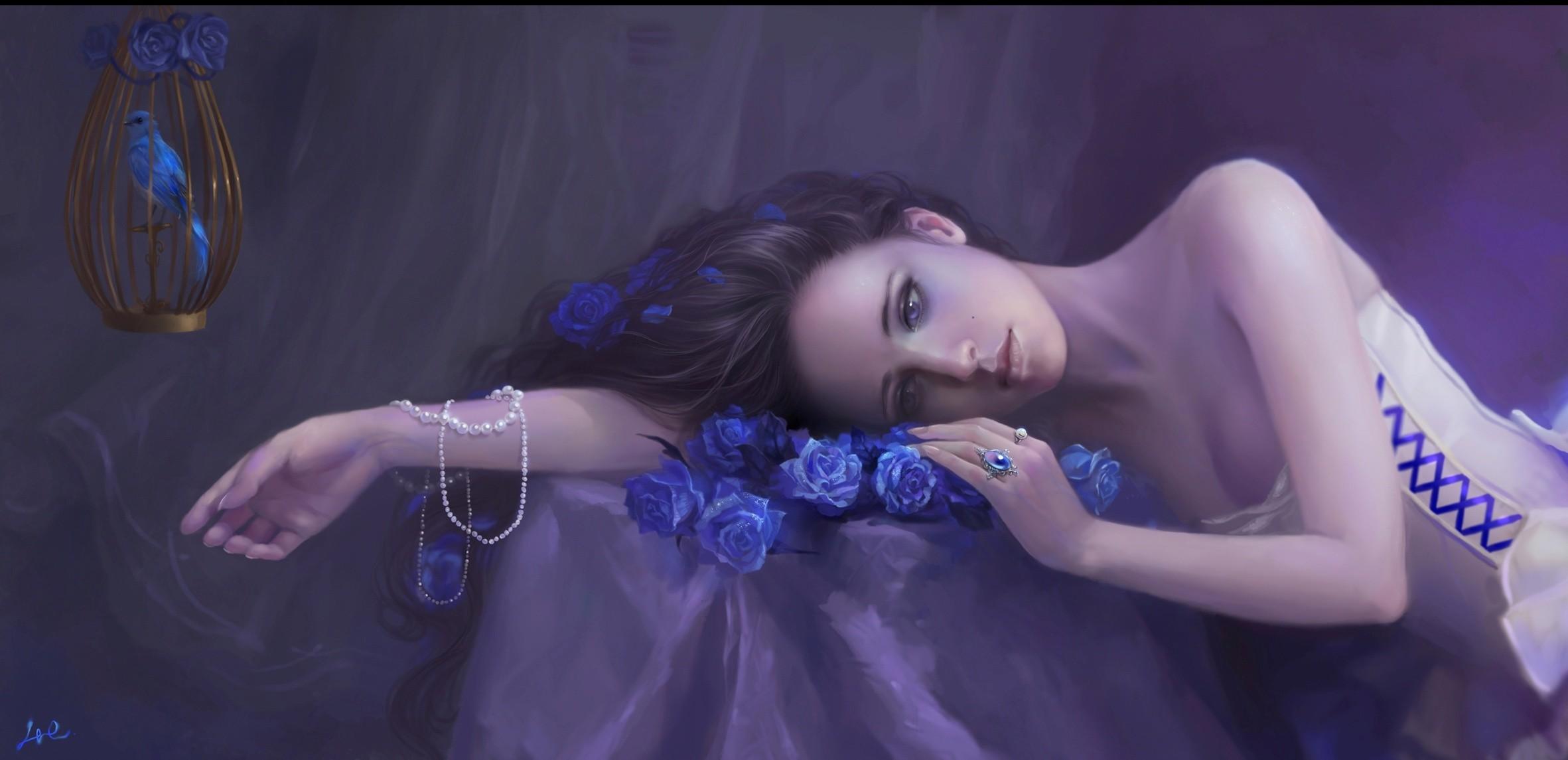 Lijiu girl flowers roses cage bird beads gothic mood girls women wallpaper  | | 91221 | WallpaperUP