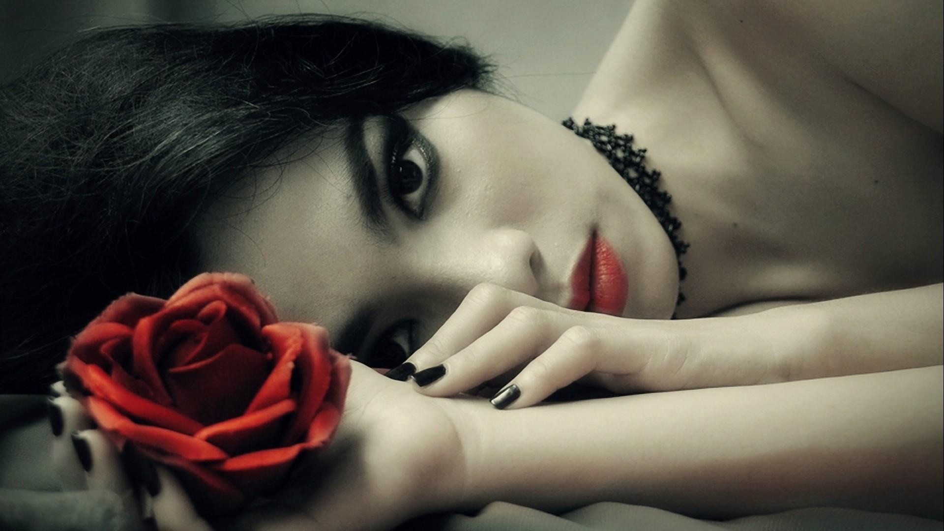 Women fantasy dark gothic flowers wallpaper | .
