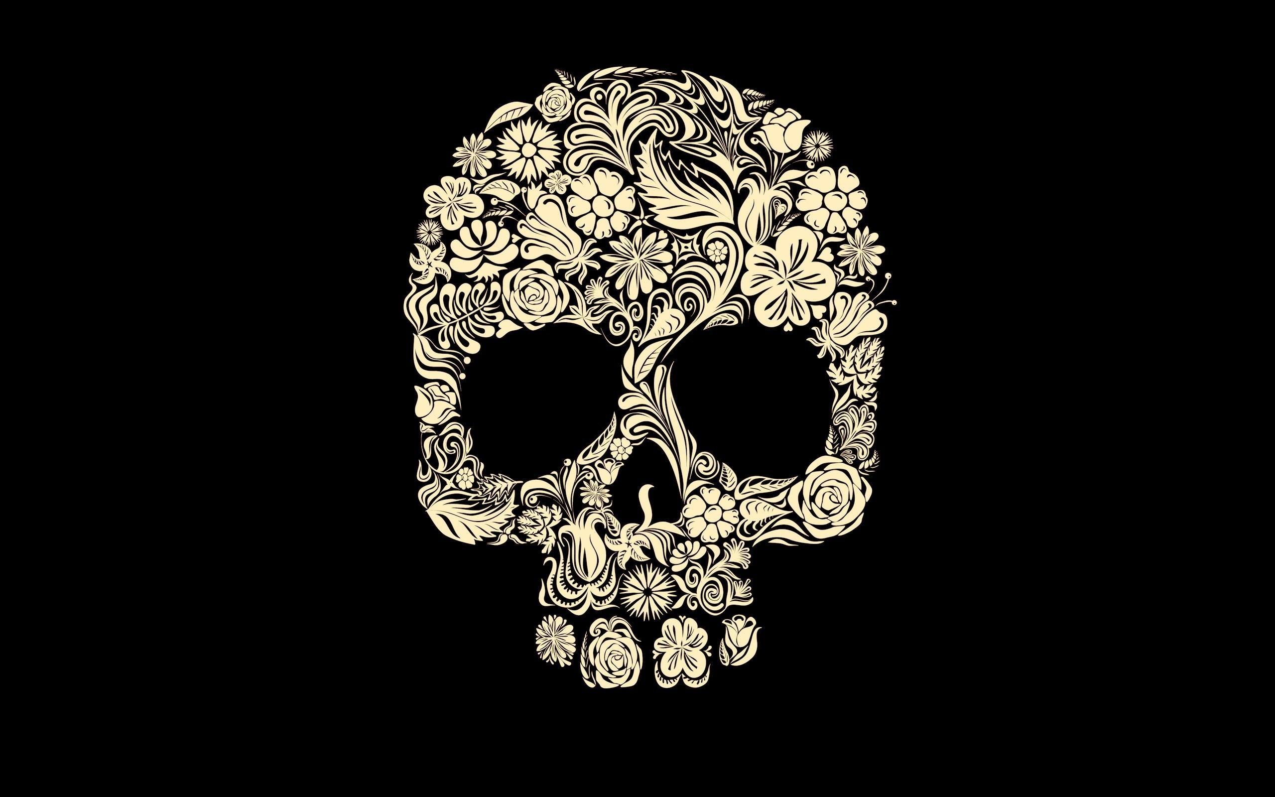 digital Art, Simple Background, Minimalism, Black Background, Skull,  Flowers, Leaves, Rose, Petals, Tulips, Death, Spooky, Gothic Wallpapers HD  / Desktop …