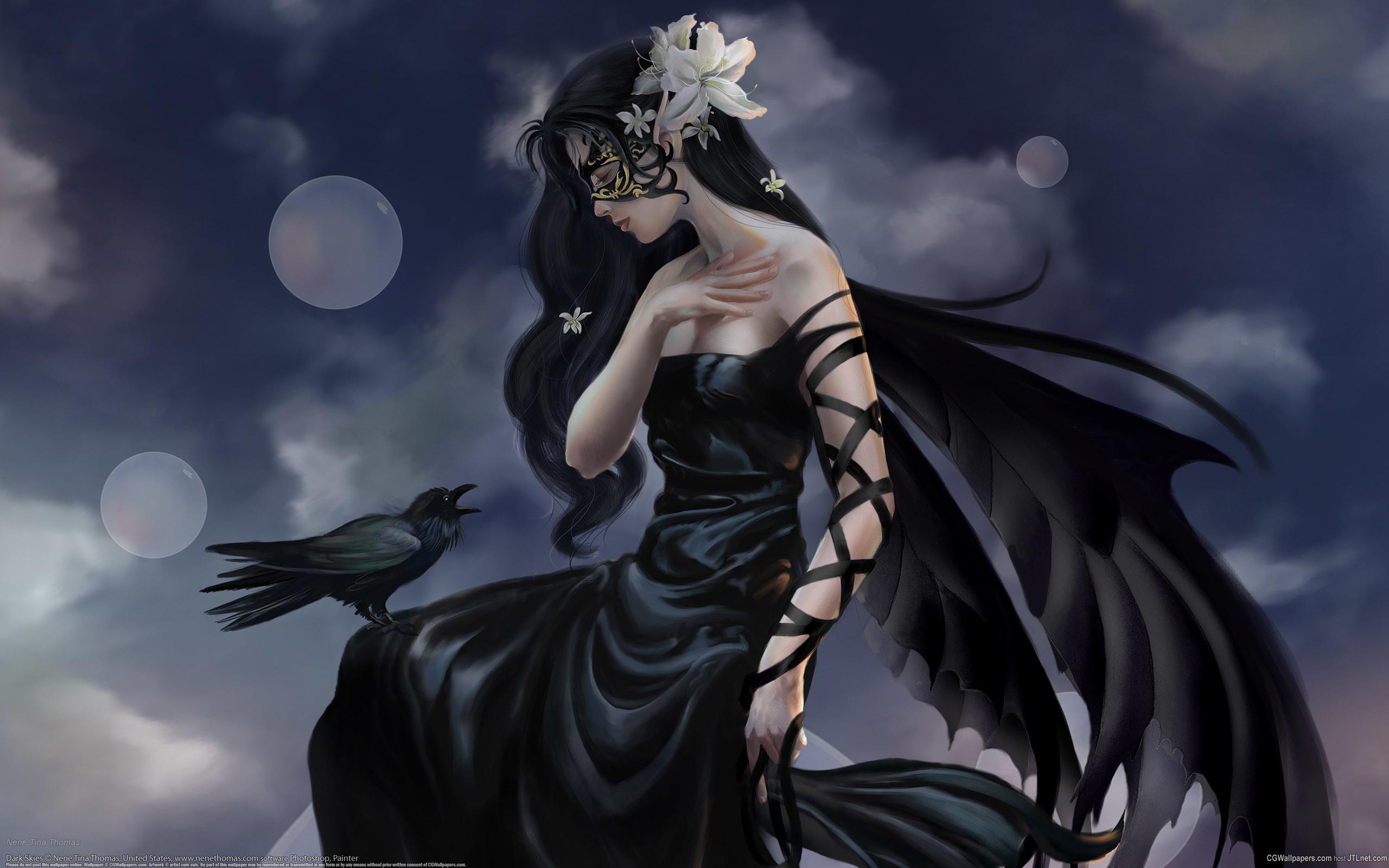 Dark – Gothic Fantasy Woman Dark Black Raven Flower Wallpaper