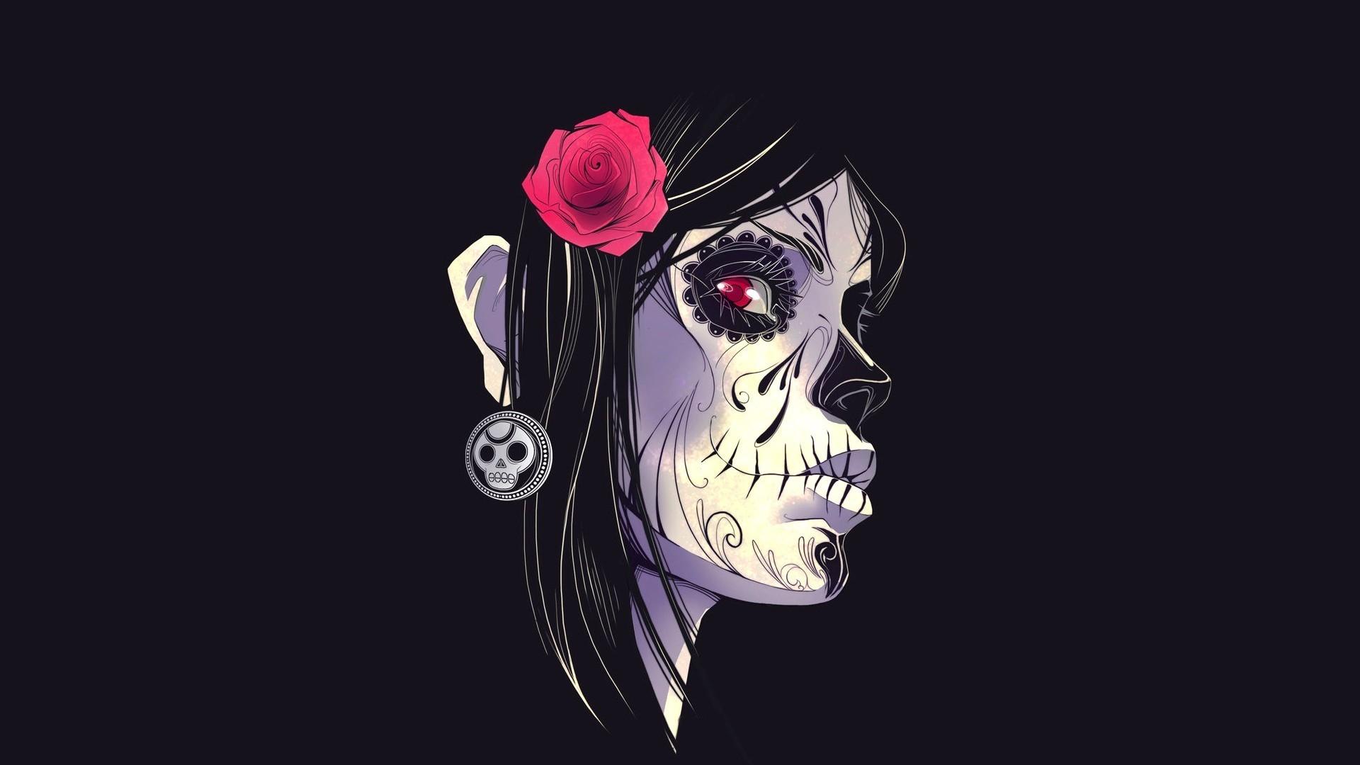 Dia De Los Muertos Day Of The Dead Face Flower Black Gothic Skull Wallpaper  At Dark Wallpapers