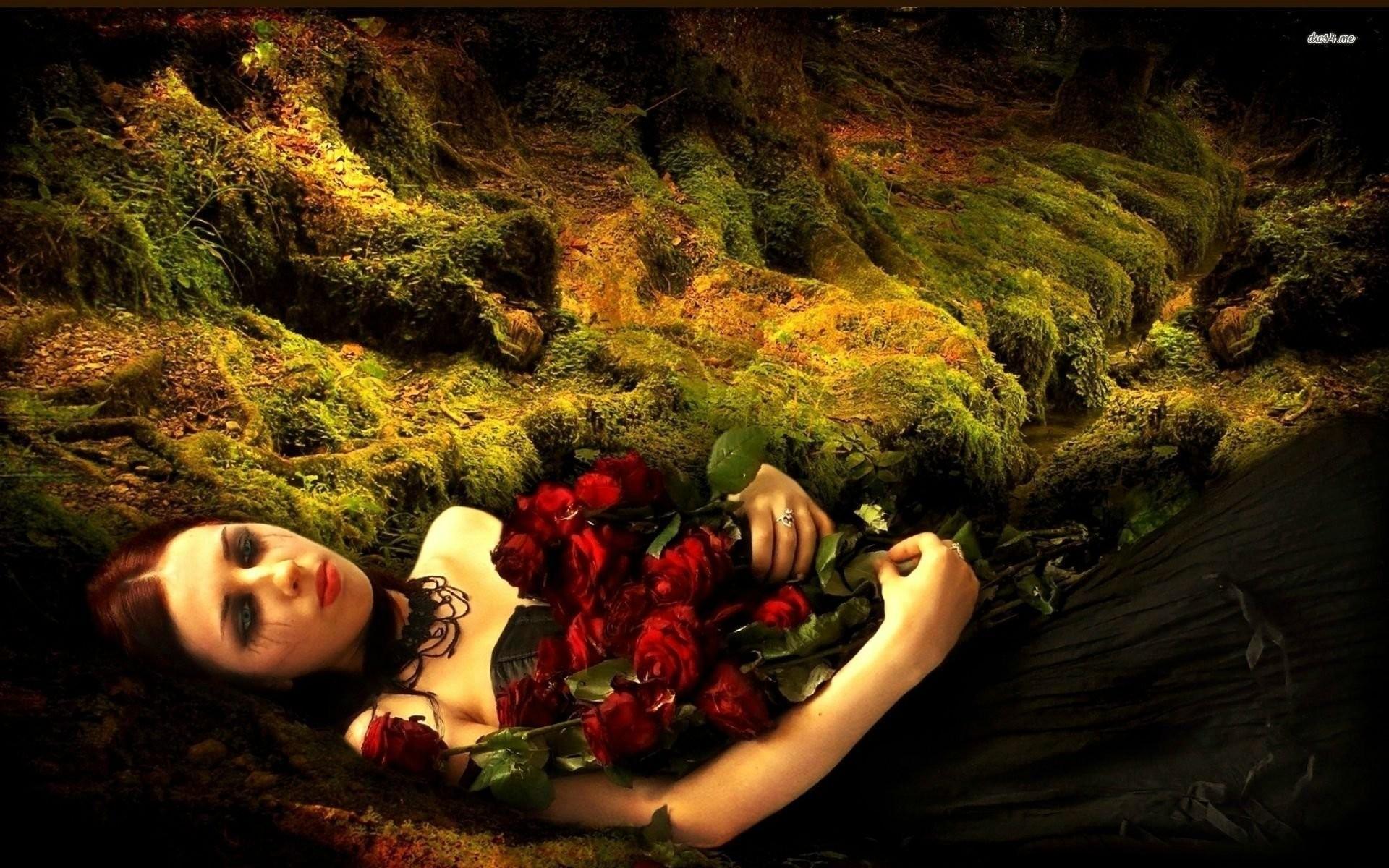 Sad Girl Holding Roses
