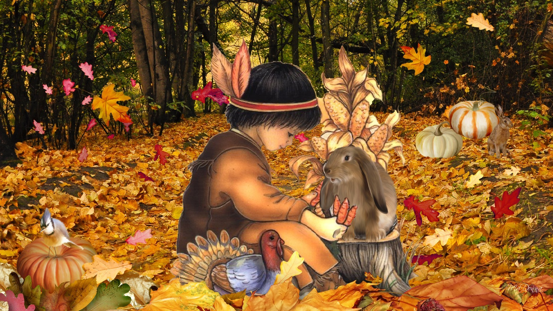 Rabbits Tag – Thanksgiving Forest Turkey Firefox Gourds American Leaves Fall  Autumn Pumpkins Woods Boy Native