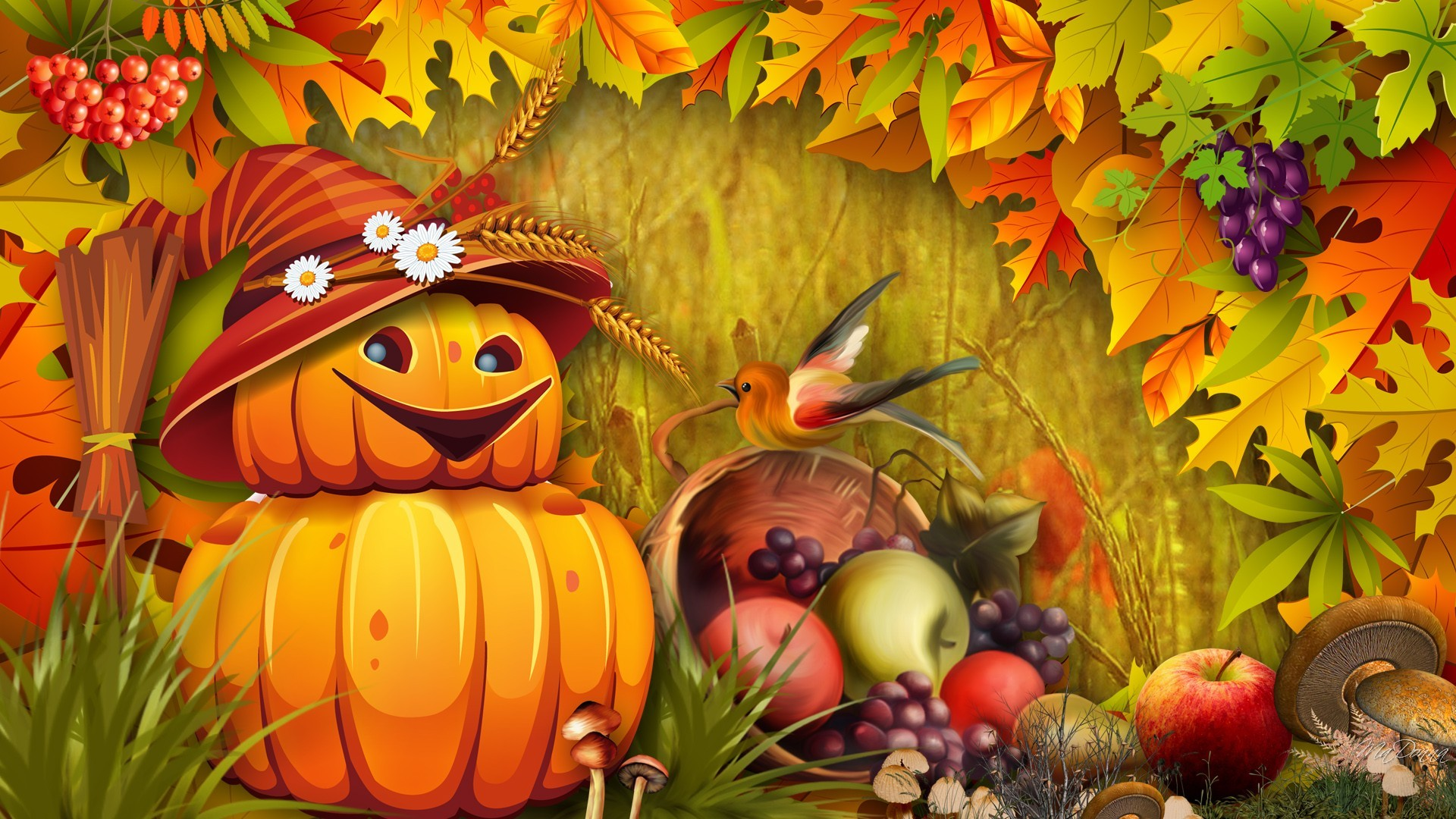 autumn wallpaper with pumpkins | Fall Leaves Pumpkins