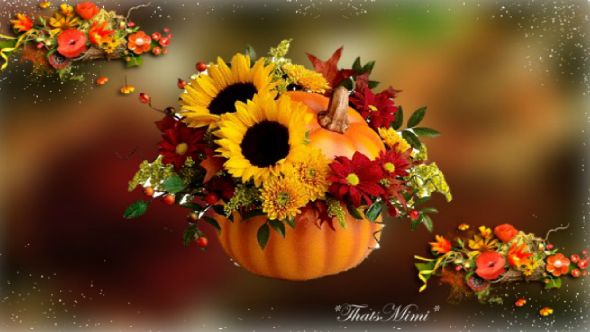 Fall Pumpkins and Flowers Desktop Wallpapers