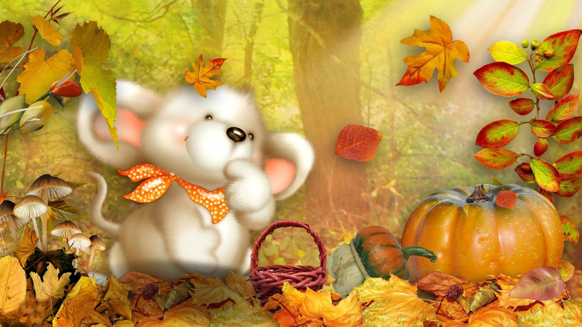 Fluffy Dog In An Autumn Scene Wallpaper – WallDevil