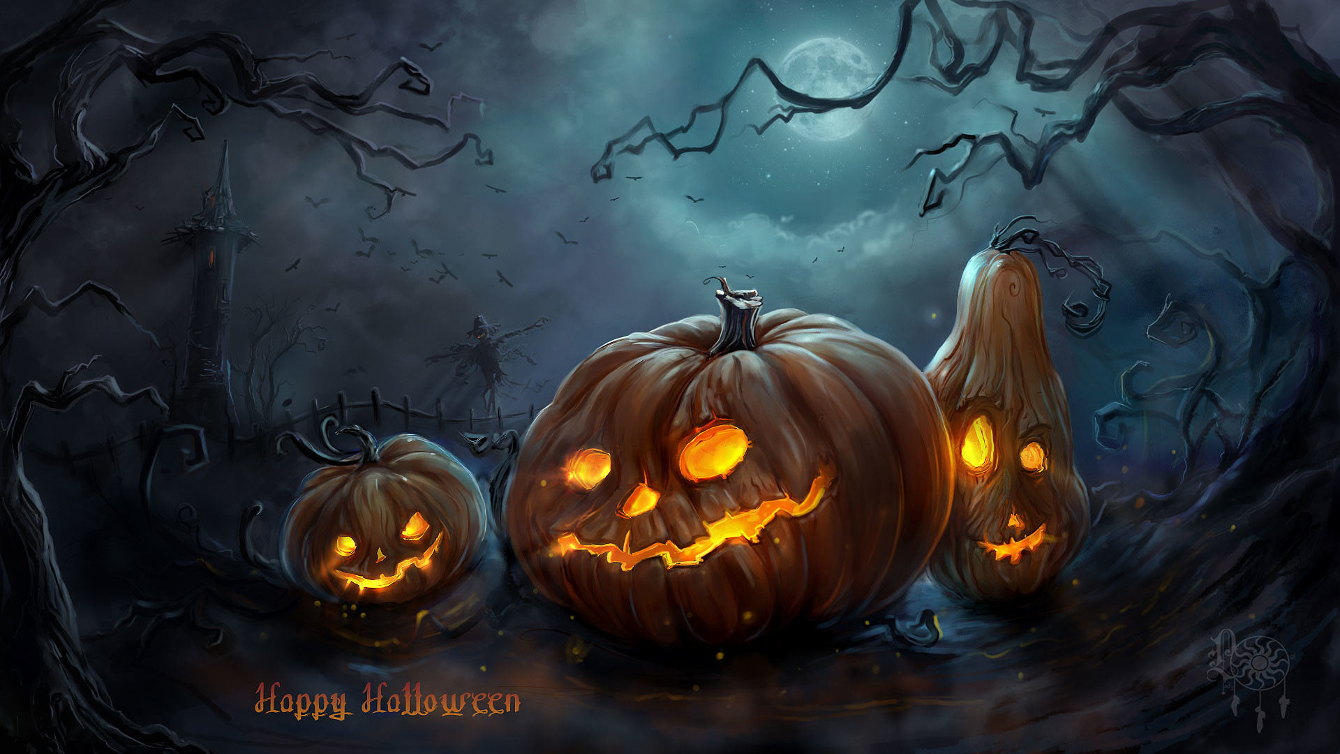 Happy Halloween Pumpkins Wallpaper HD
