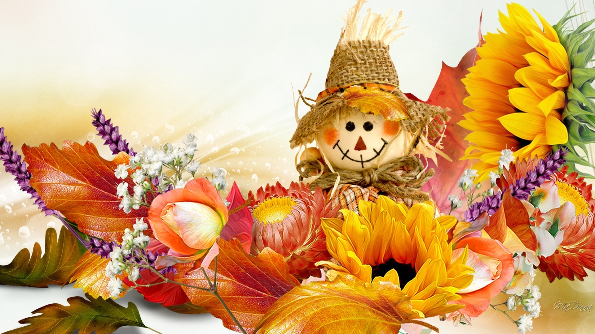 Scarecrow Tag – Autumn Happy Leaves Orange Basics Scarecrow Flowers Smile  Gold Fall Rose Doll Sunflowers
