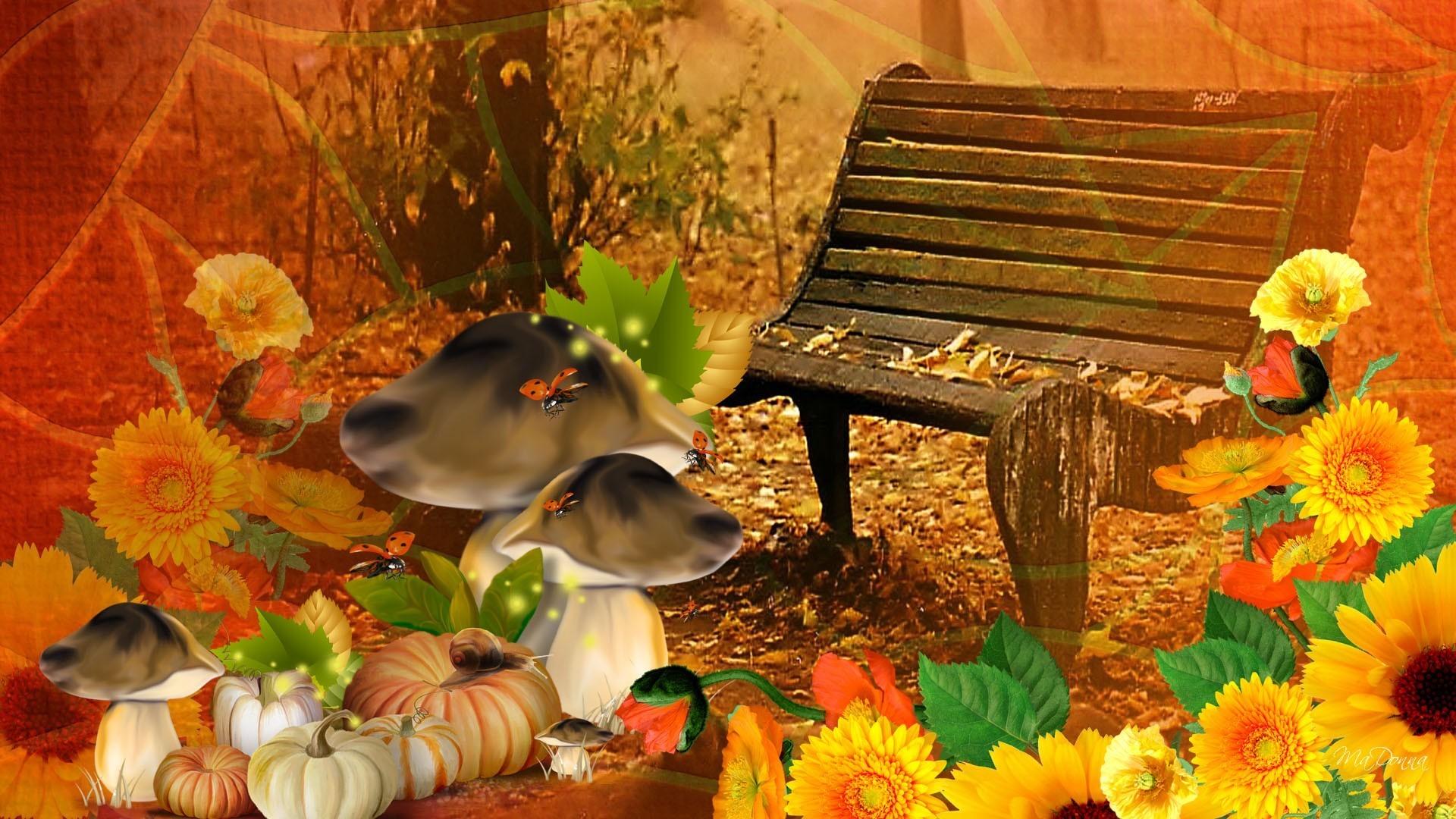Pumpkin Tag – Bright Fall Day Autumn Flowers Harvest Ladybugs Mushrooms  Gourds Fleurs Pumpkin October Thanksgiving