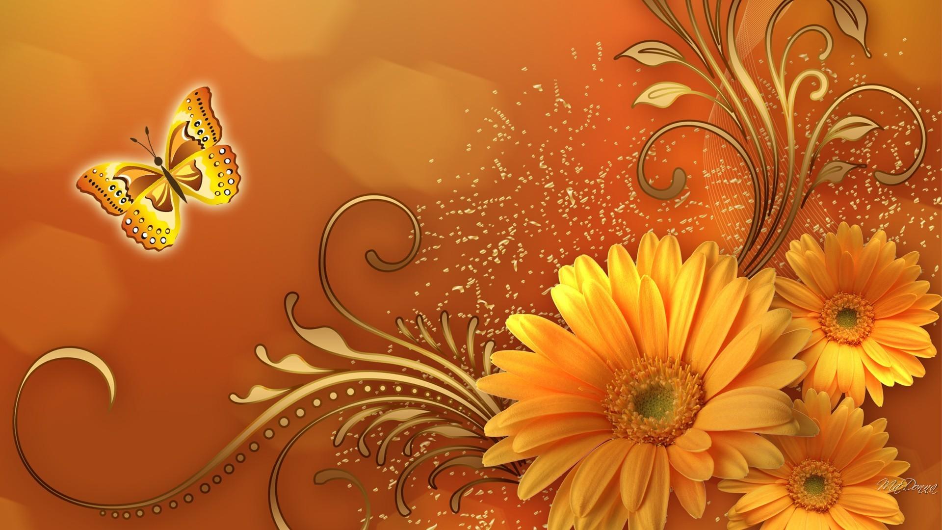 Fall Flowers – flower fantastic fall floral autumn flowers butterfly gold  gerbera