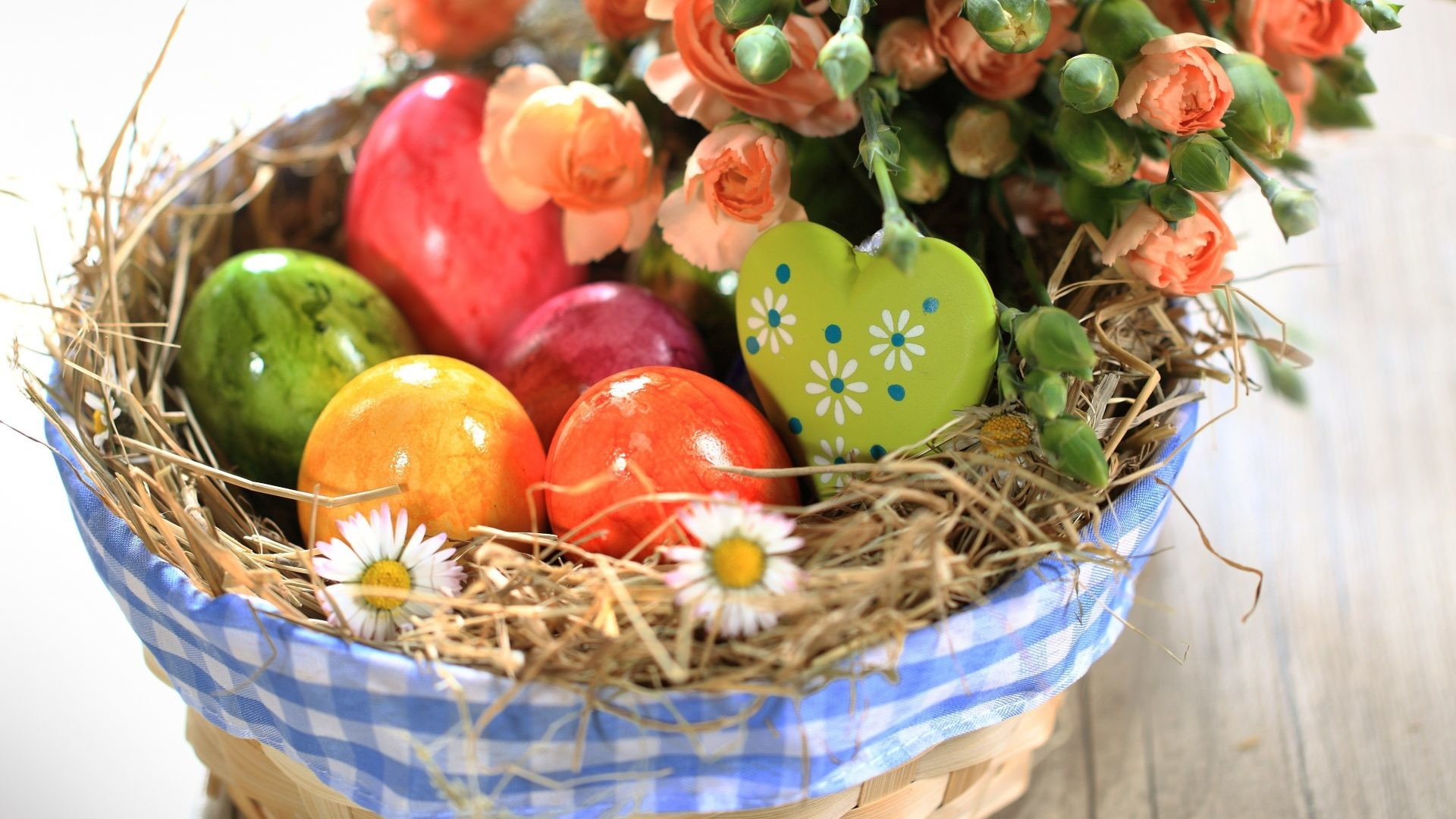 Happy Tag – Happy Life Heart Easter Still Basket Roses Eggs Flowers  Wallpaper Windows 7 Flower