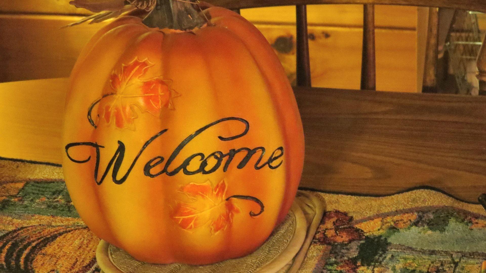 Decorative Tag – Pumpkin Welcome Autumn Halloween Fall Nature Decorative  October September November Thanksgiving Craft Hocking