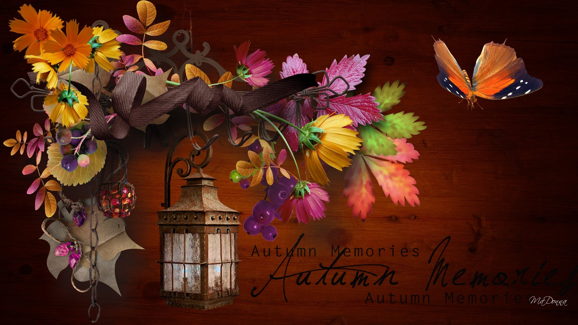 Lantern Tag – Autumn Ribbon Fall Fleurs Collage Papillon Leaves Swag  Memories Orange Flowers Bouquet Light