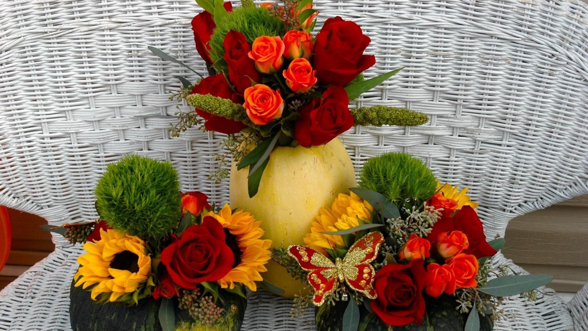 Wallpaper roses, sunflowers, flowers, pumpkins, song, butterfly