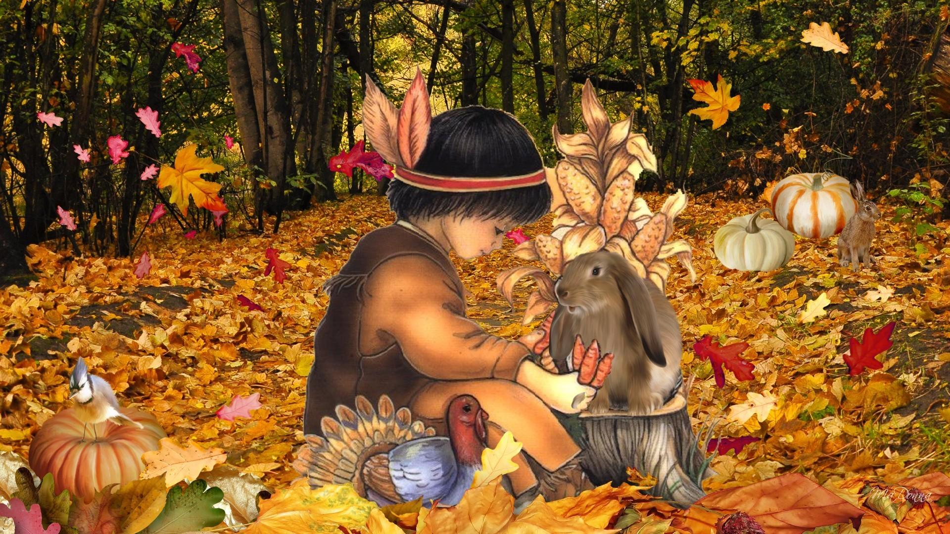 Pumpkins Tag – Thanksgiving Forest Turkey Firefox Gourds American Leaves Fall  Autumn Pumpkins Woods Boy Native