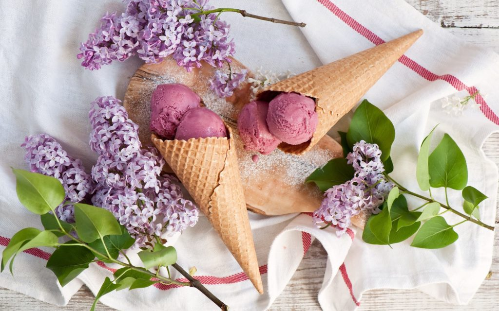 Cone Ice Cream and Lilac Flowers Wallpaper
