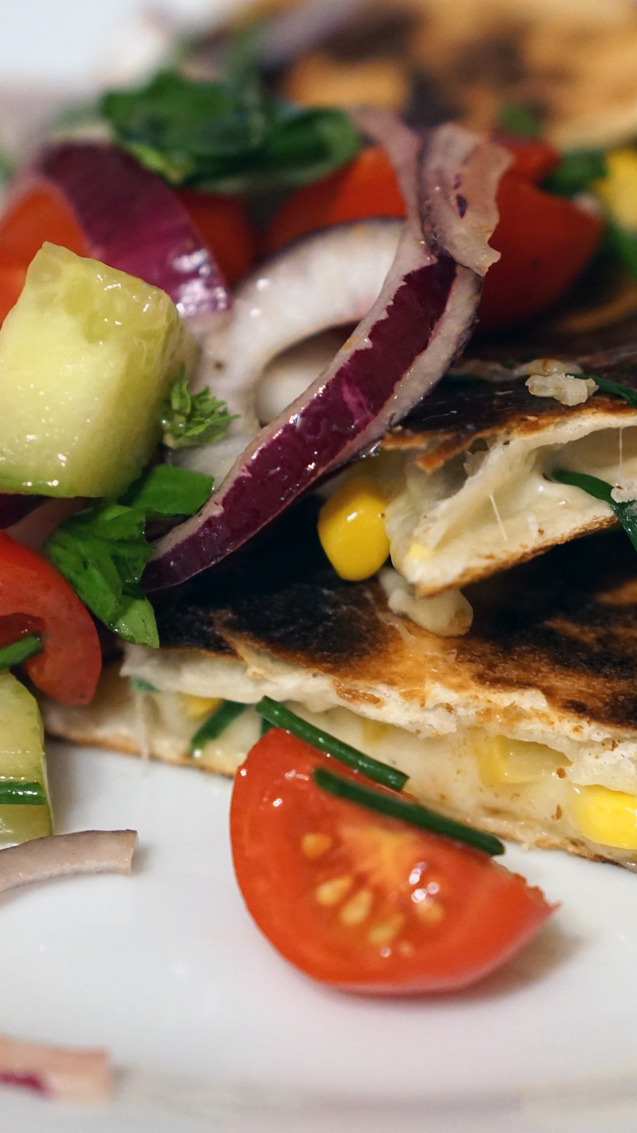 Wallpaper quesadilla, mexican food, corn bread, tomatoes, onions,  corn,