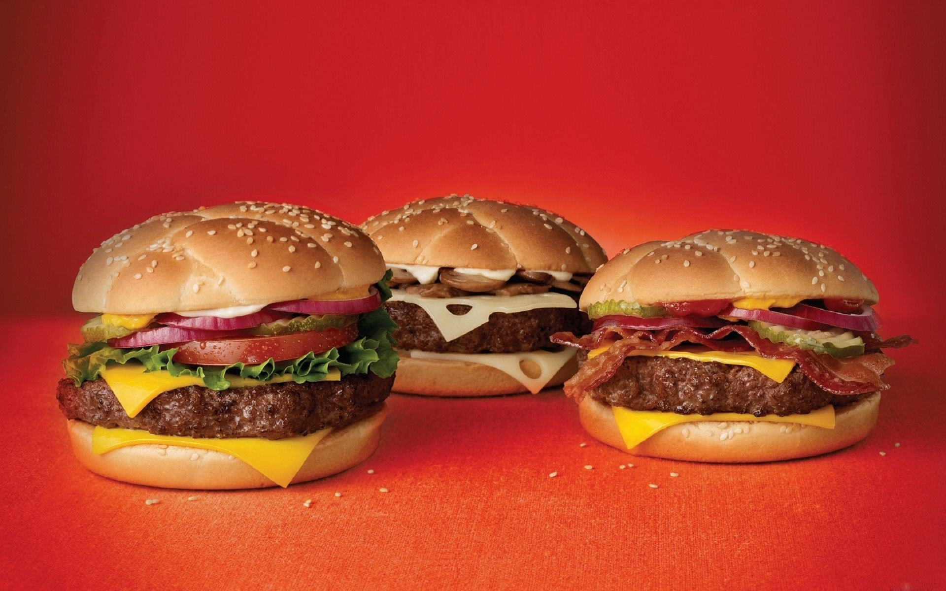 Hamburger-Red-Background-Fast-Food