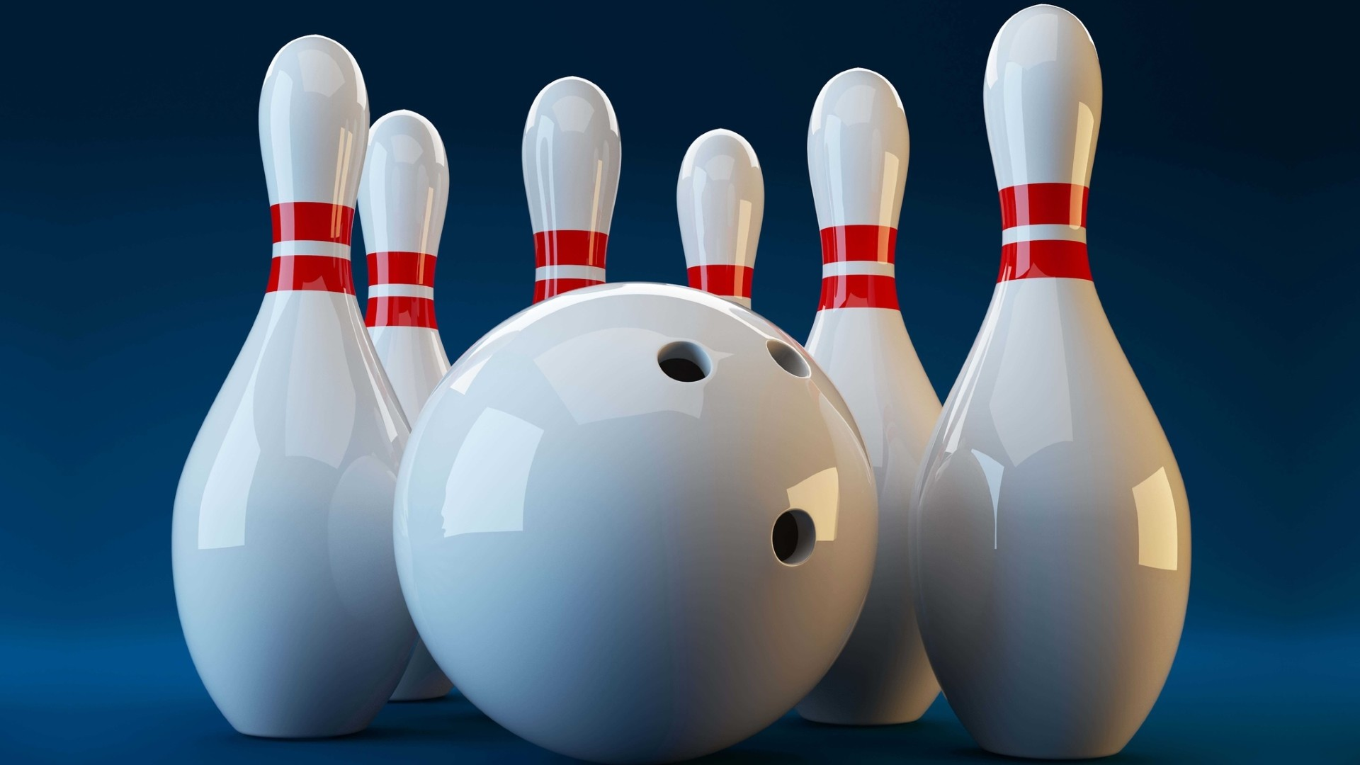 White skittles and ball – bowling HD background: