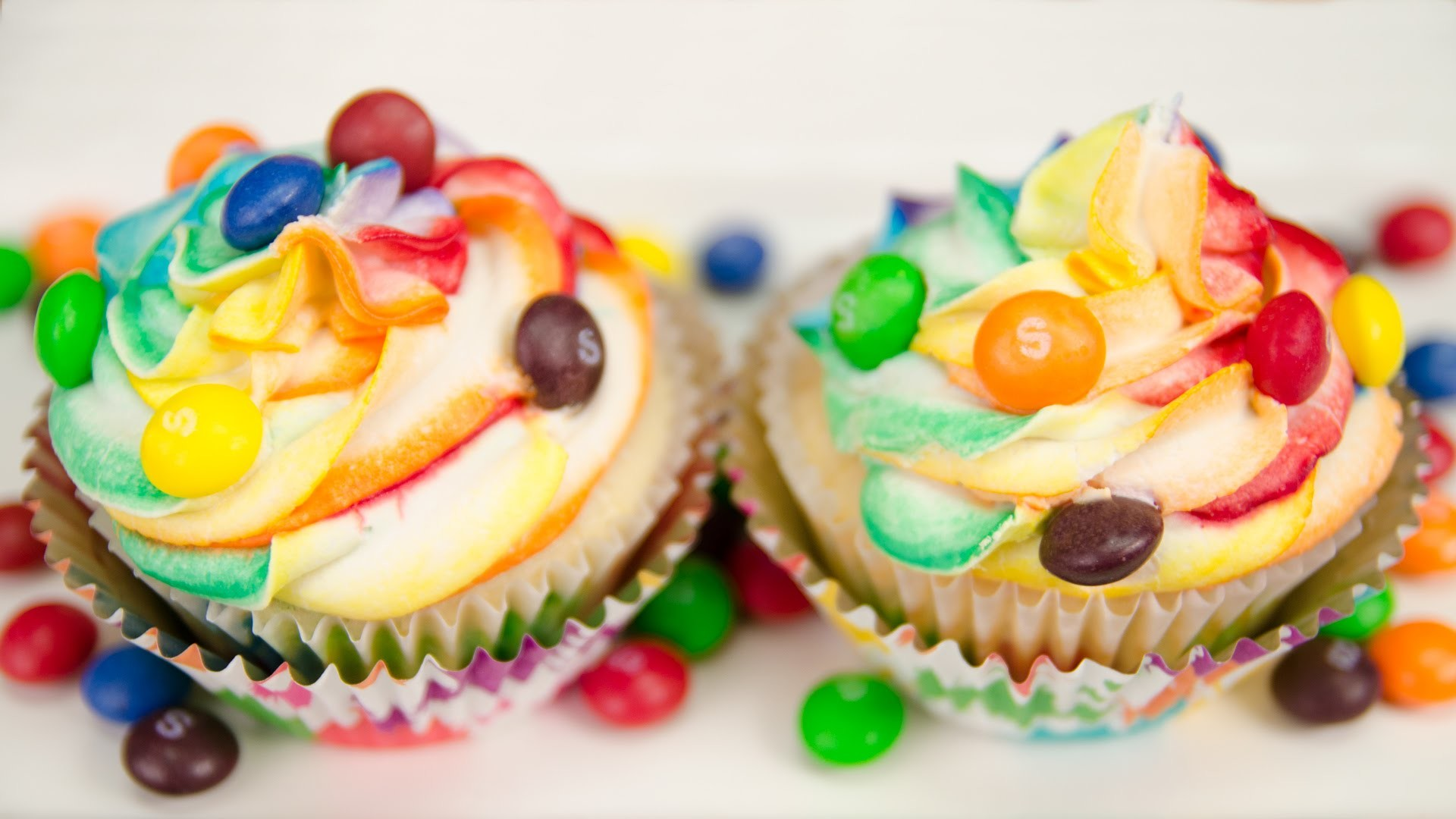 Skittles Cupcakes with Rainbow Icing from Cookies Cupcakes and Cardio –  YouTube