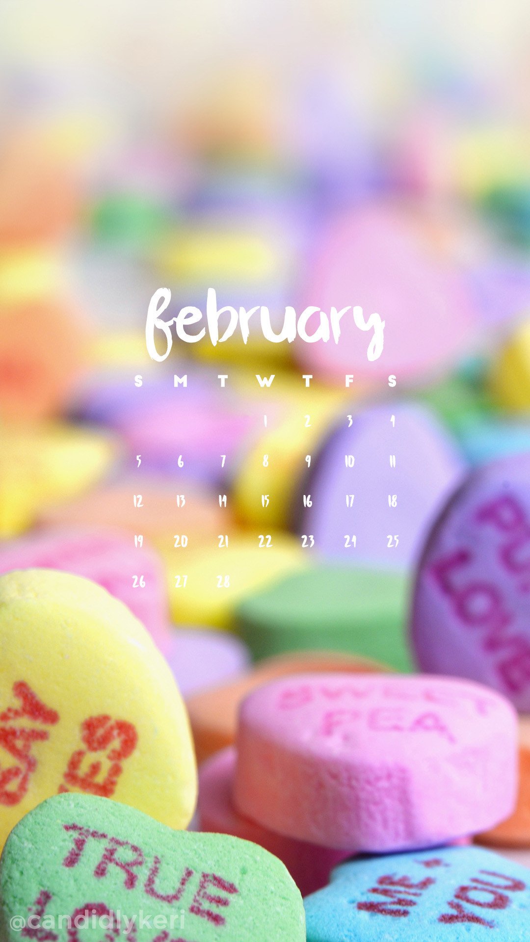 "Candy Hearts ""puppy love"" ""true love"" ""kiss me"" February calendar"
