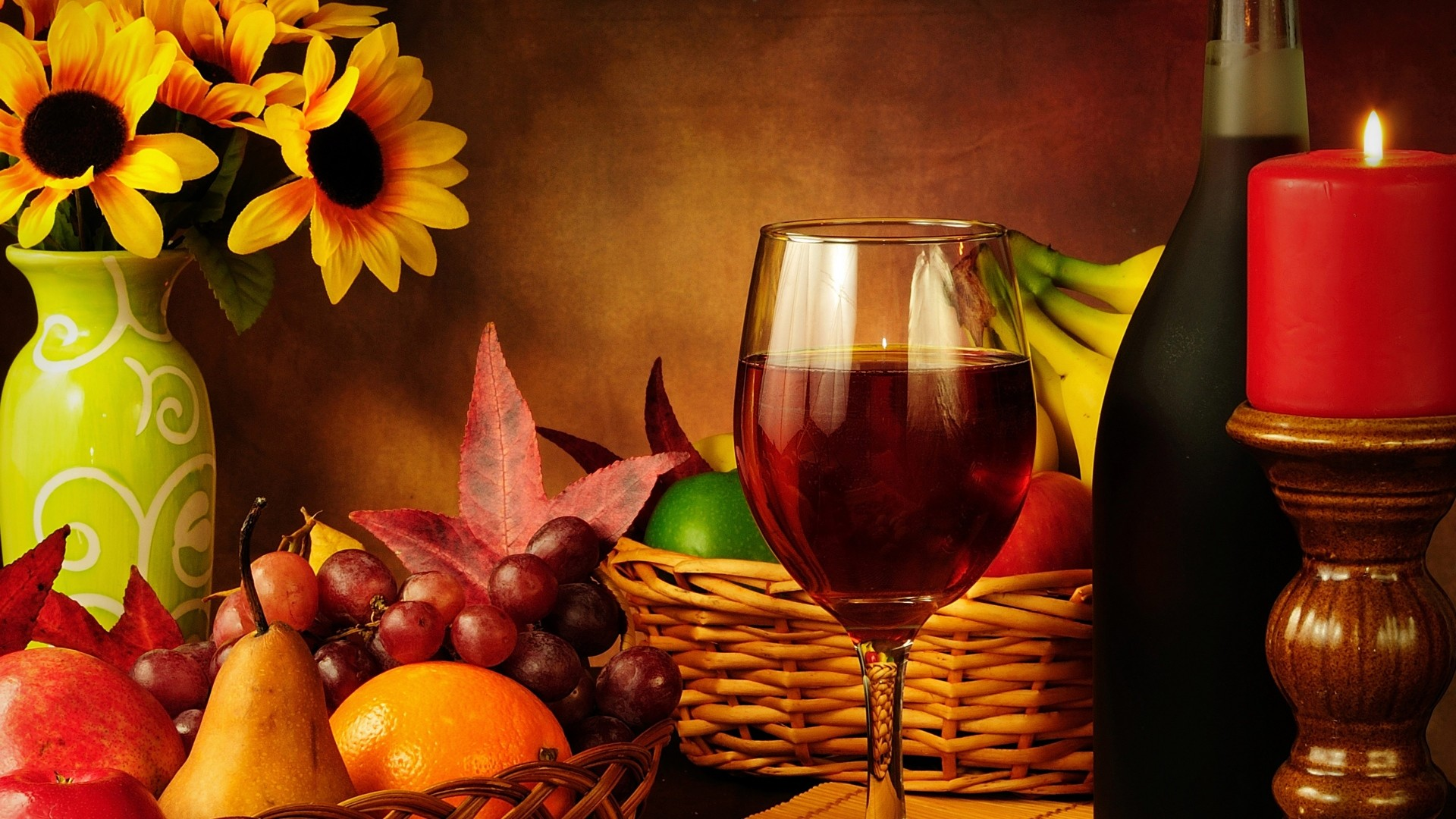 Wallpaper wine, table, autumn, composition, food
