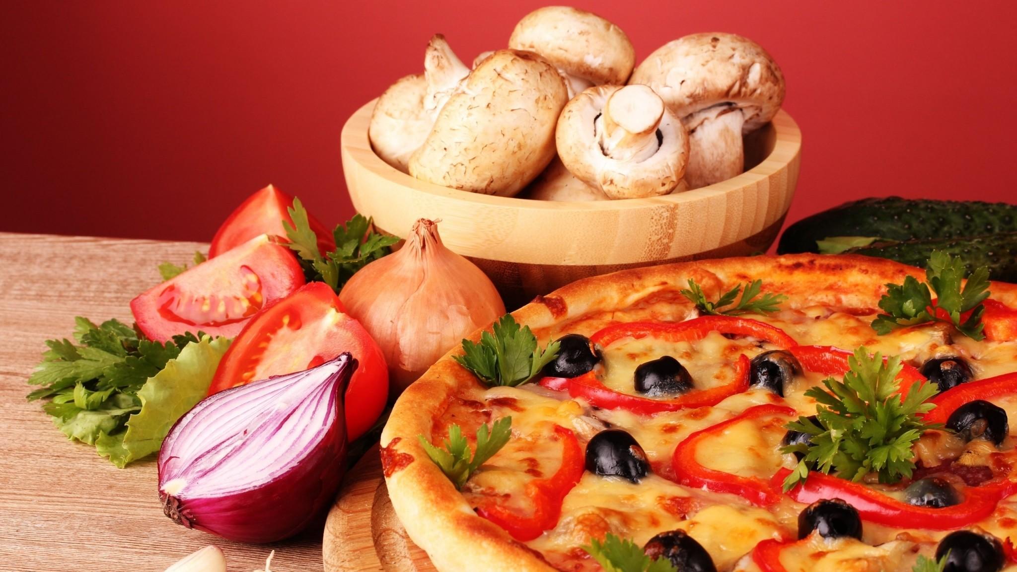 Wallpaper pizza, vegetables, food, tasty