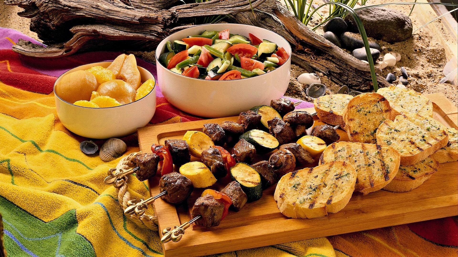Wallpaper bread, vegetables, meat, food
