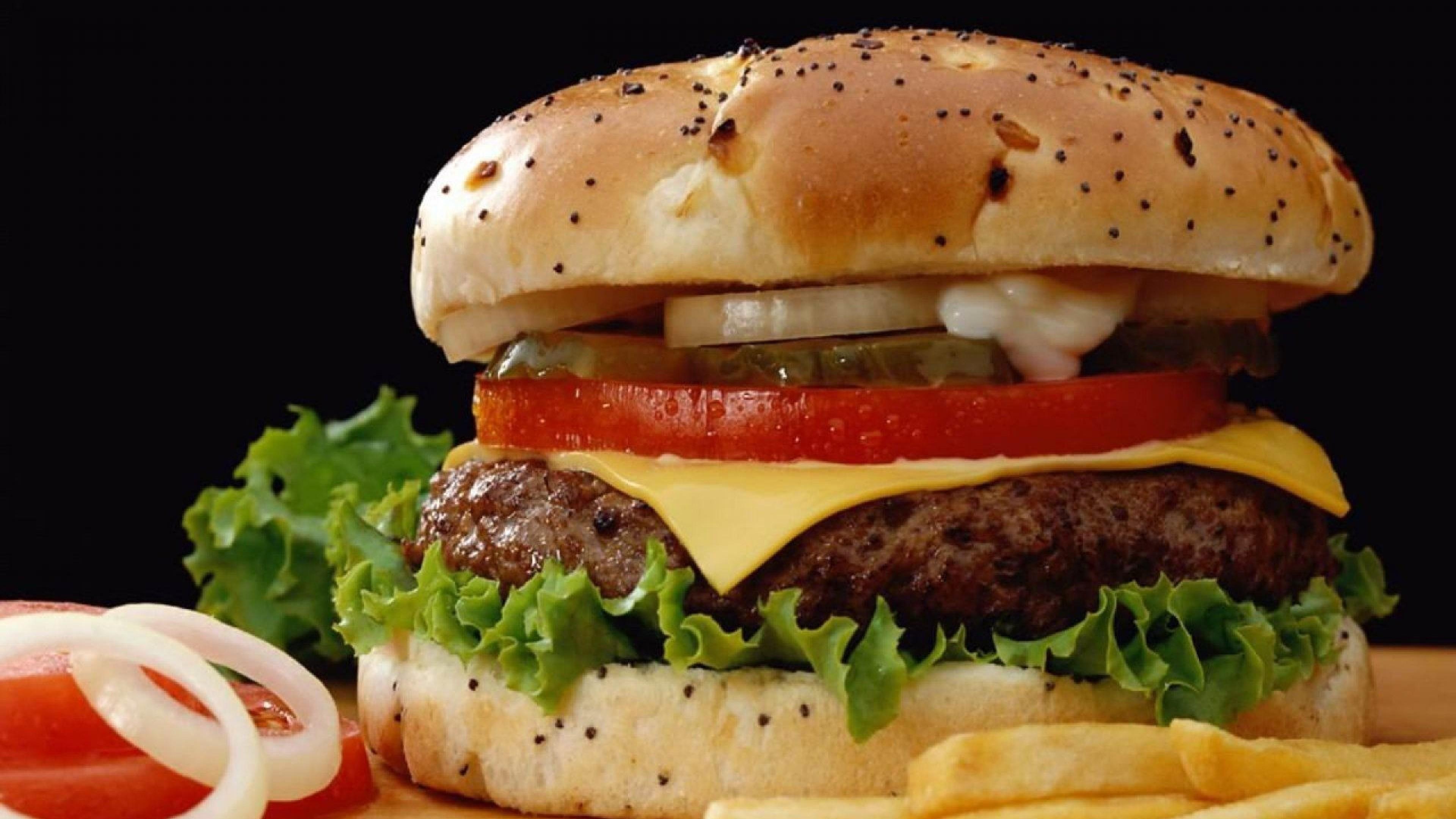 Wallpaper cheeseburger, sandwich, fast food