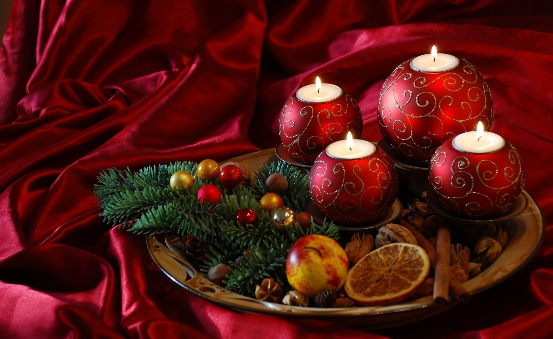 Wallpaper new year, christmas, candles, needles, food, silk