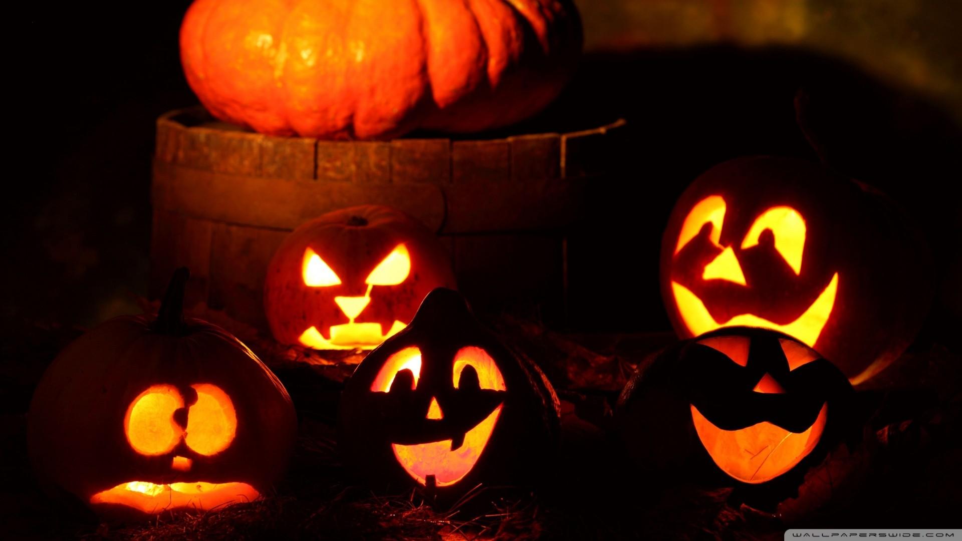 Halloween Pumpkins Wallpaper Lighted, Halloween, Pumpkins .