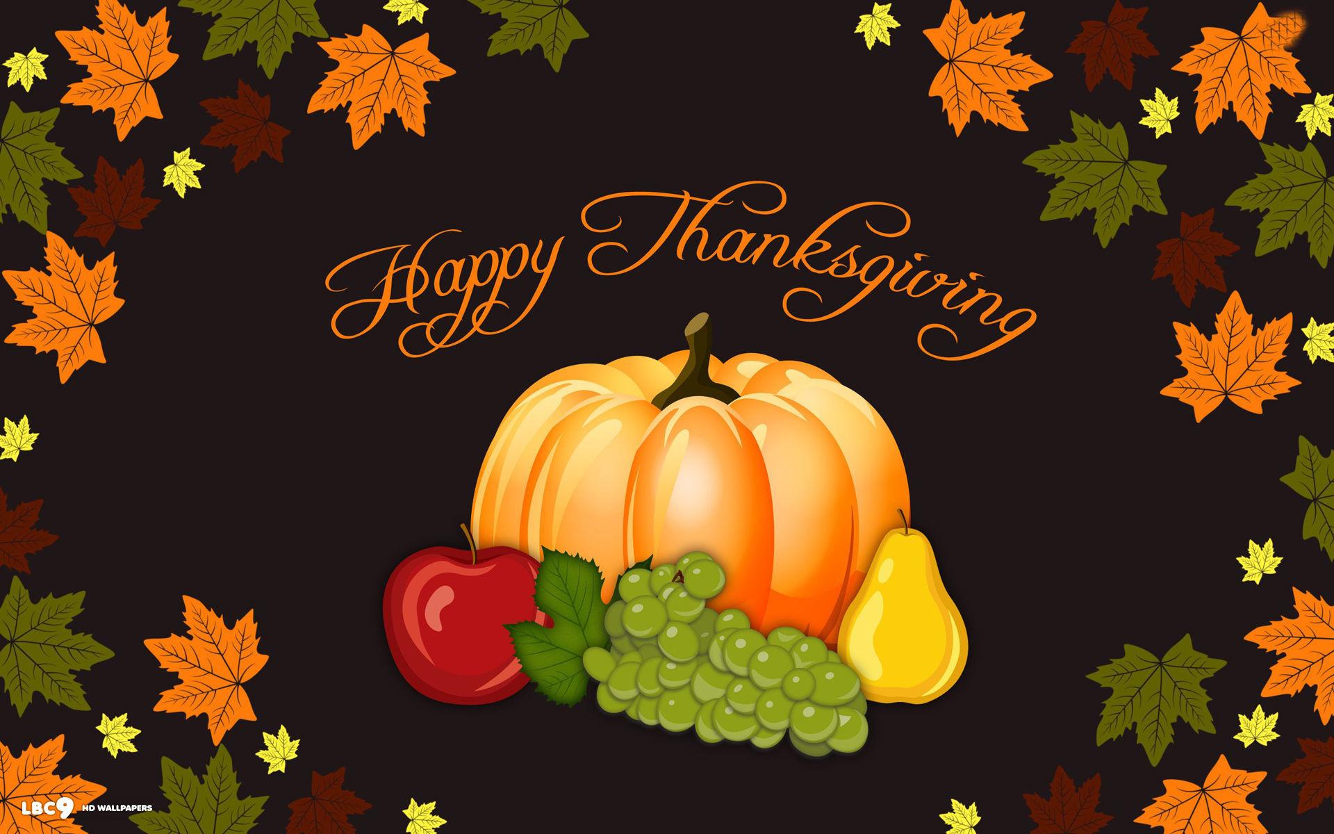 happy thanksgiving day vector art pumpkin autumn leaves holiday wallpaper