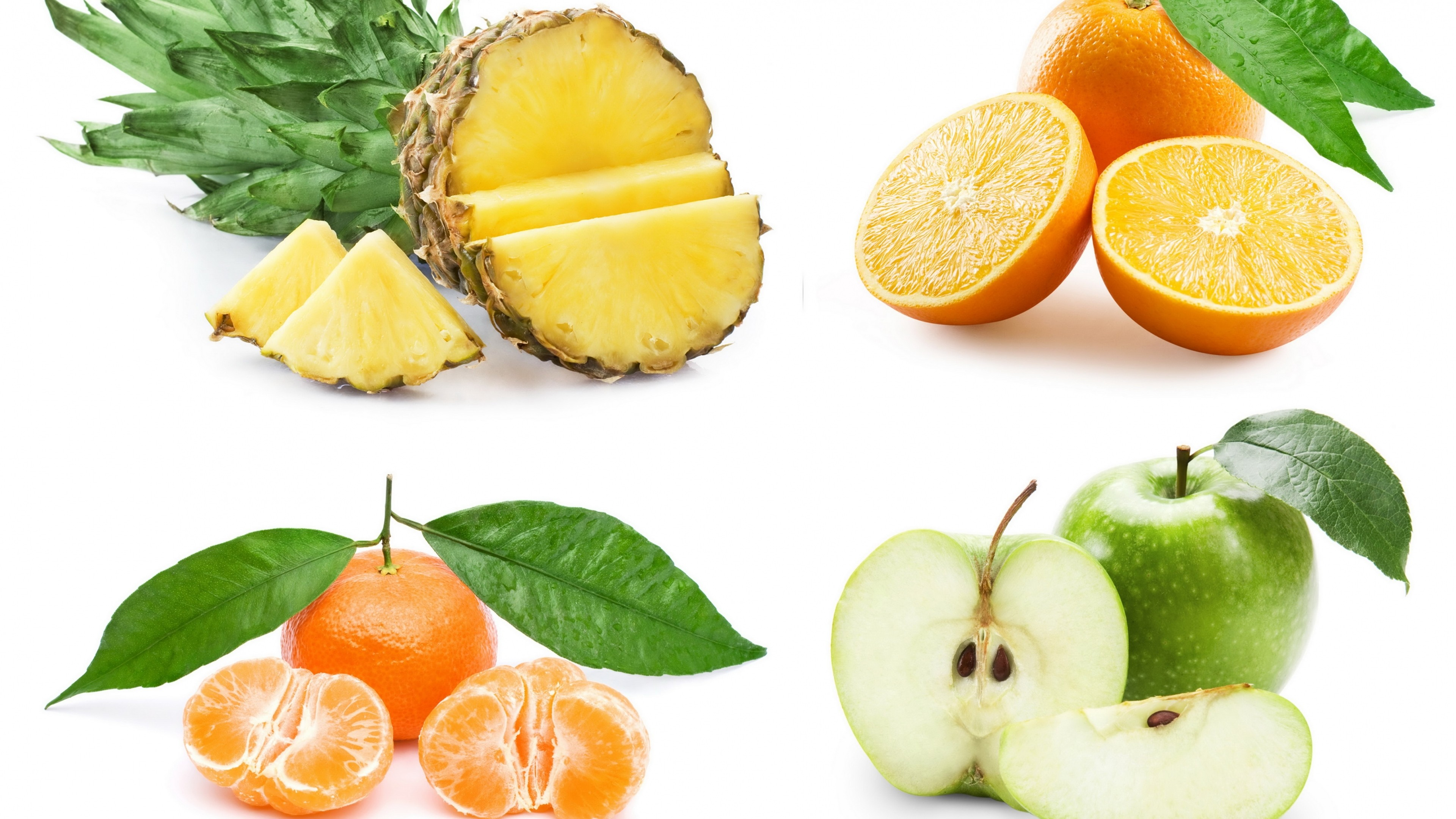 Wallpaper fruit, pineapple, apple, orange, mandarin