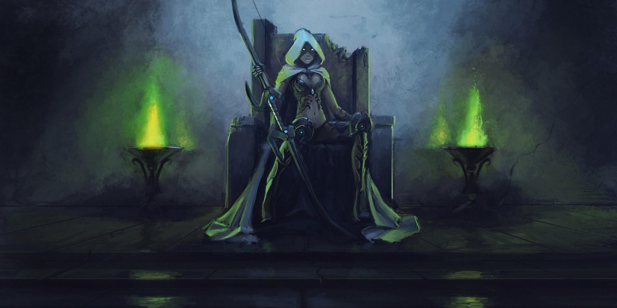 Art World of Warcraft Sylvanas Windrunner Elf throne hood burning eyes bow  fantasy wallpaper