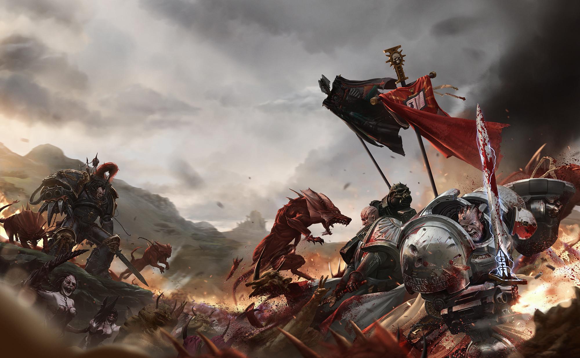Wallpaper warhammer 40k, azrael, banner, black legion, chaos, daemon .