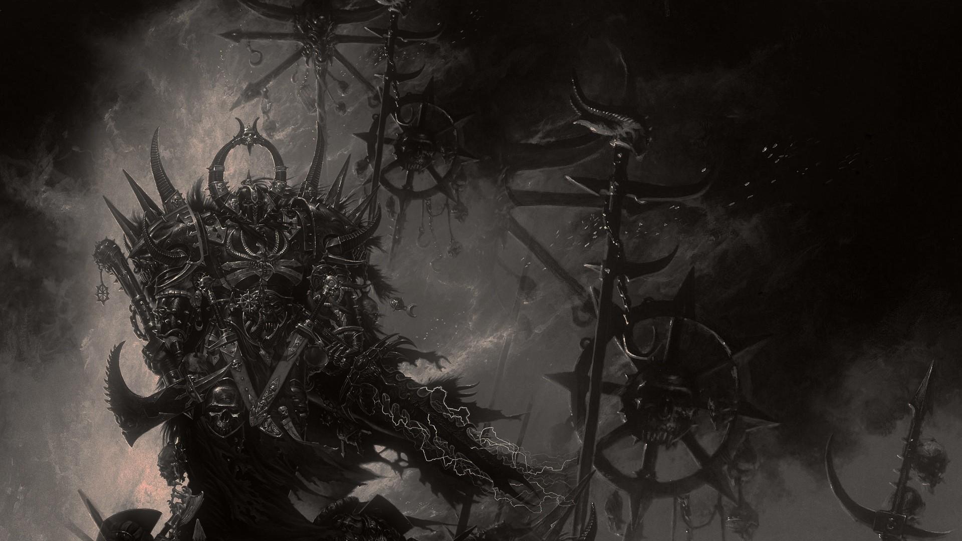General artwork fantasy art digital art knight dark machine Chaos  Warhammer 40,000 WH40K